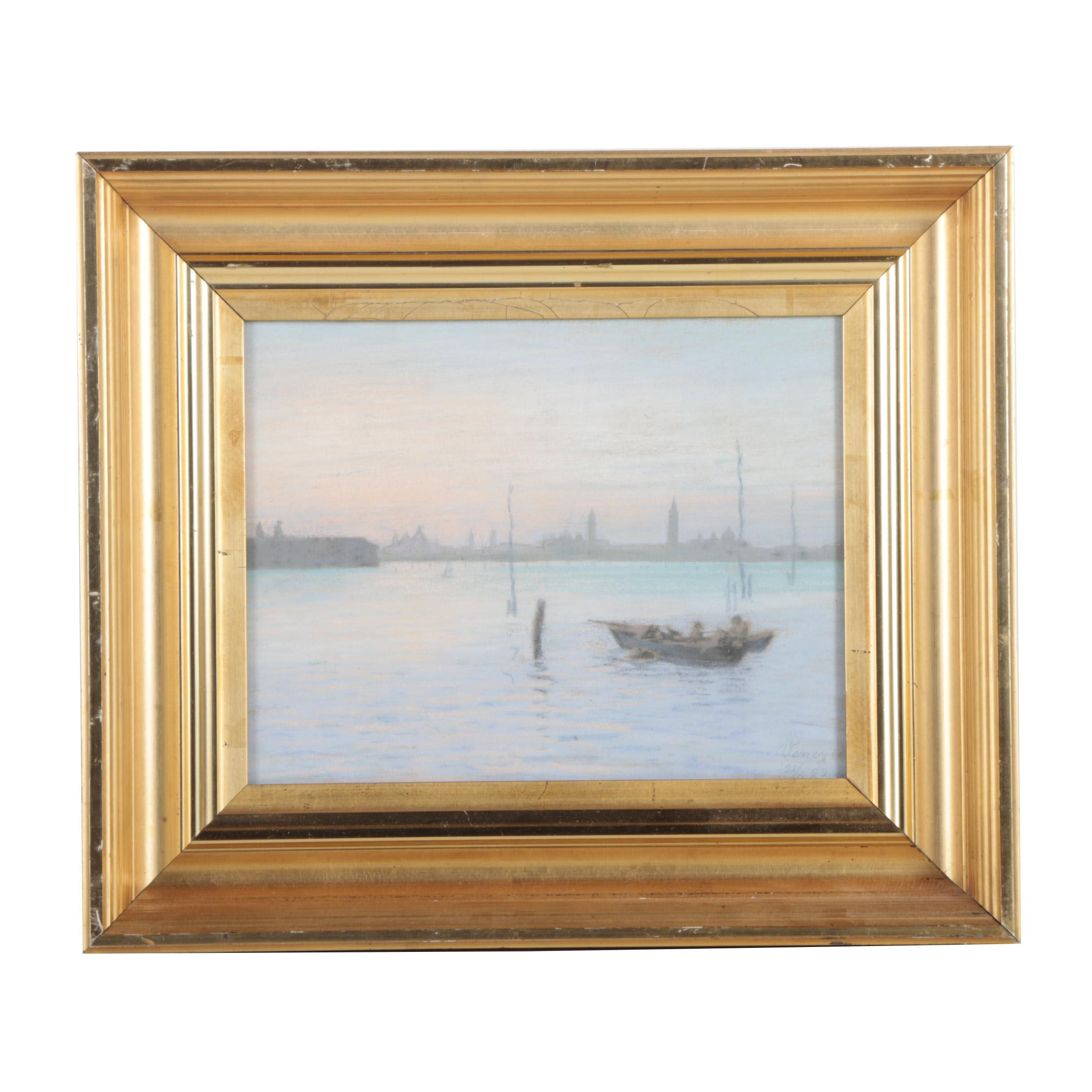 1922 Pastel Drawing Attributed to Venezia