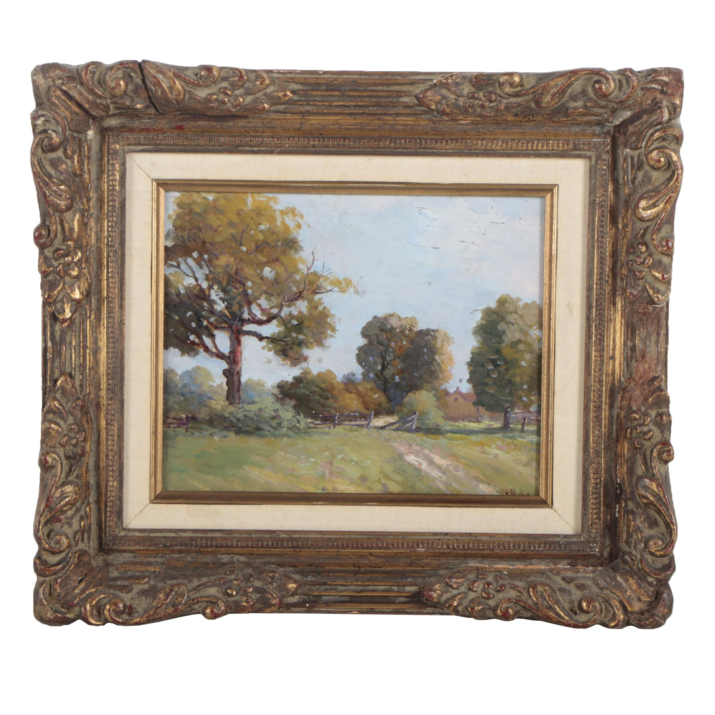 J.P. Hicks Vintage Landscape Oil Painting