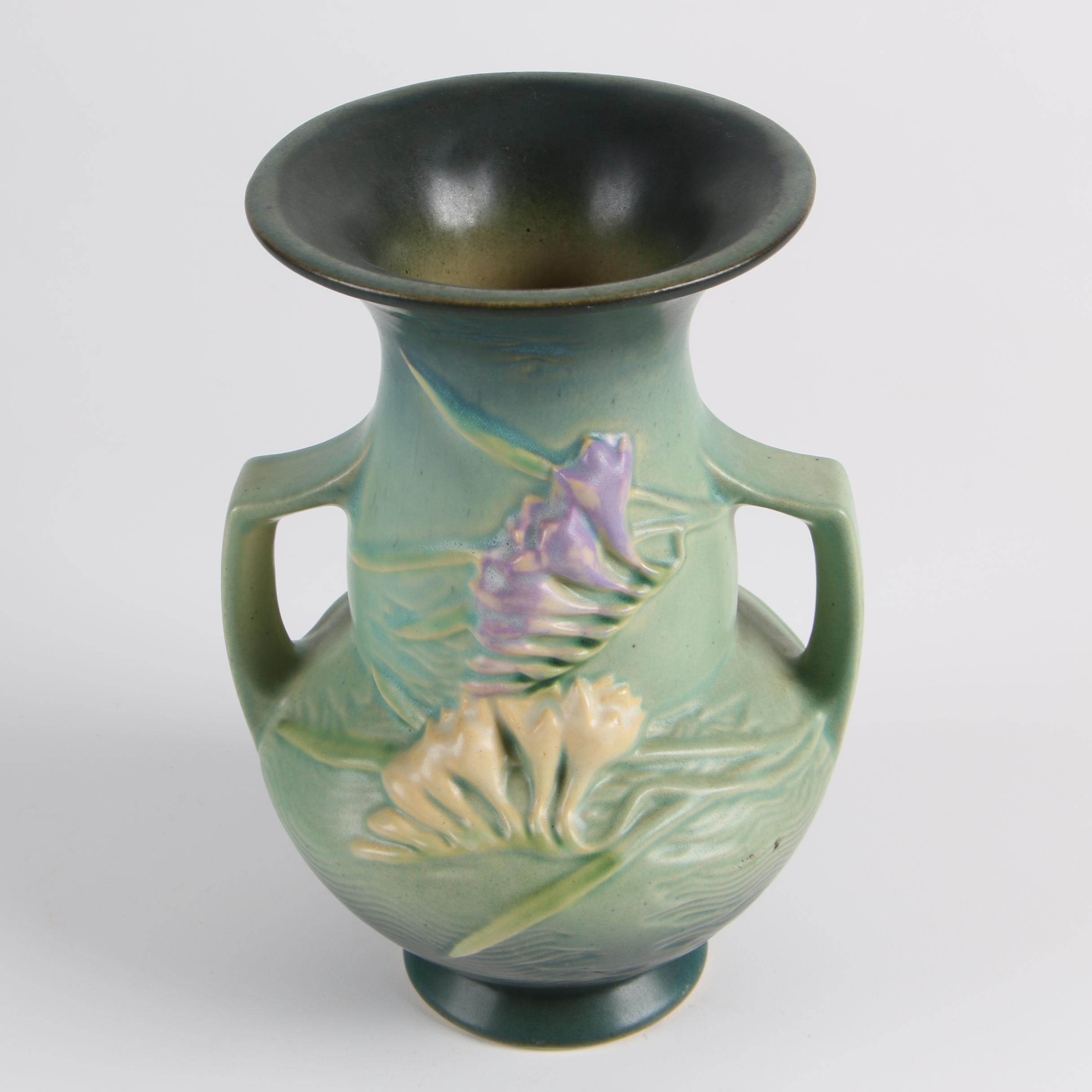 "Roseville ""Freesia"" Green Two Handled Vase"