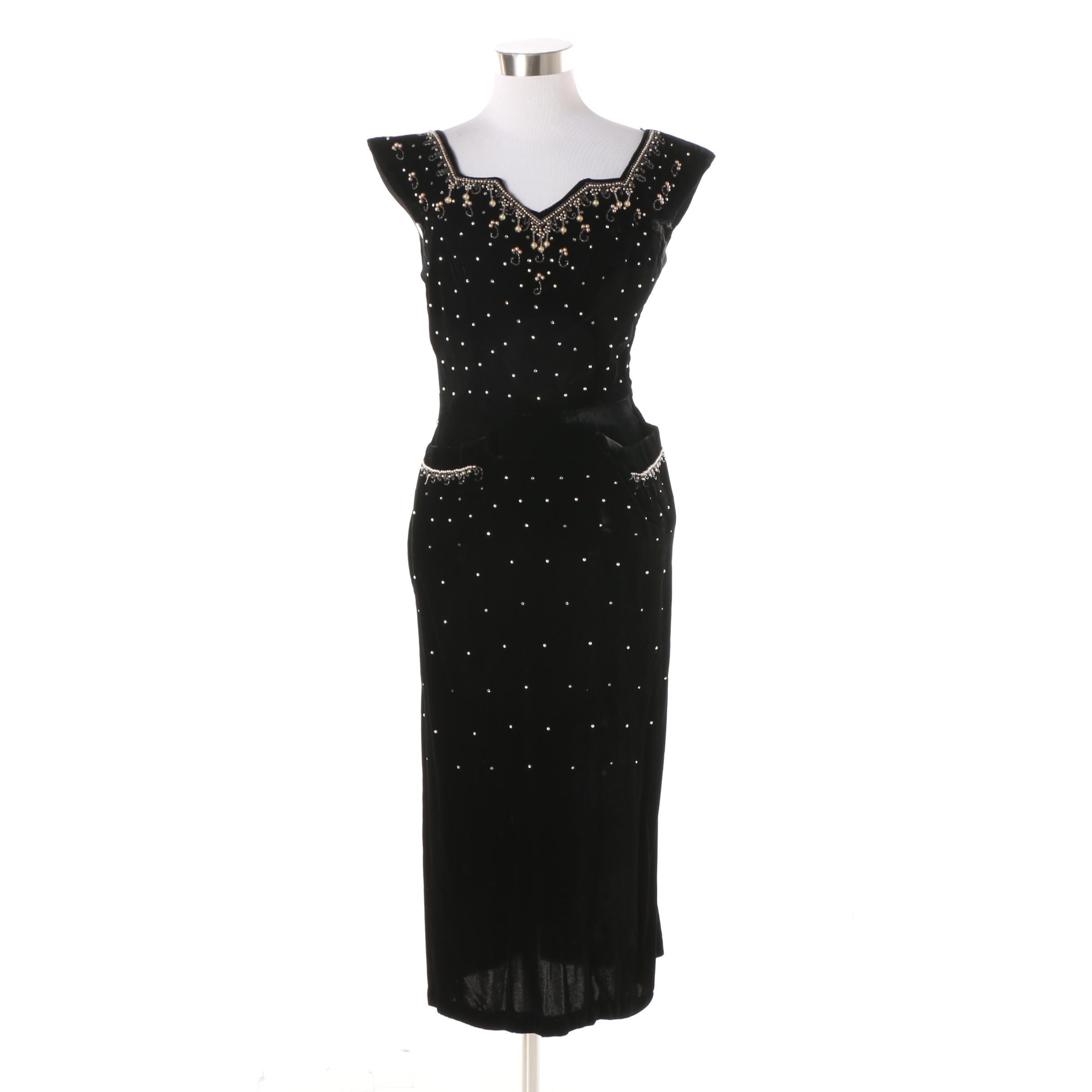 Vintage Black Velvet Beaded Cocktail Dress