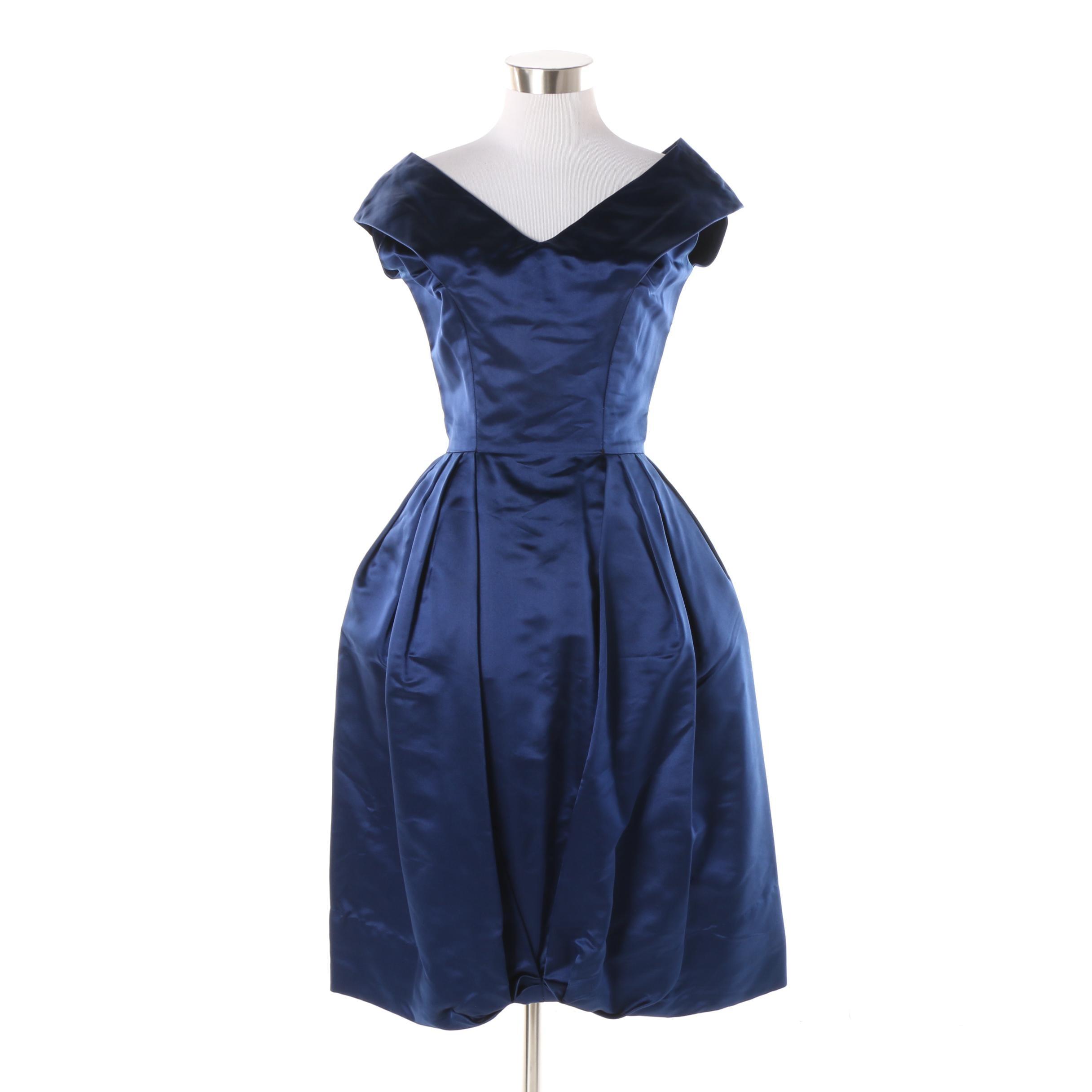 Circa 1960s Vintage Bramson Blue Cocktail Dress