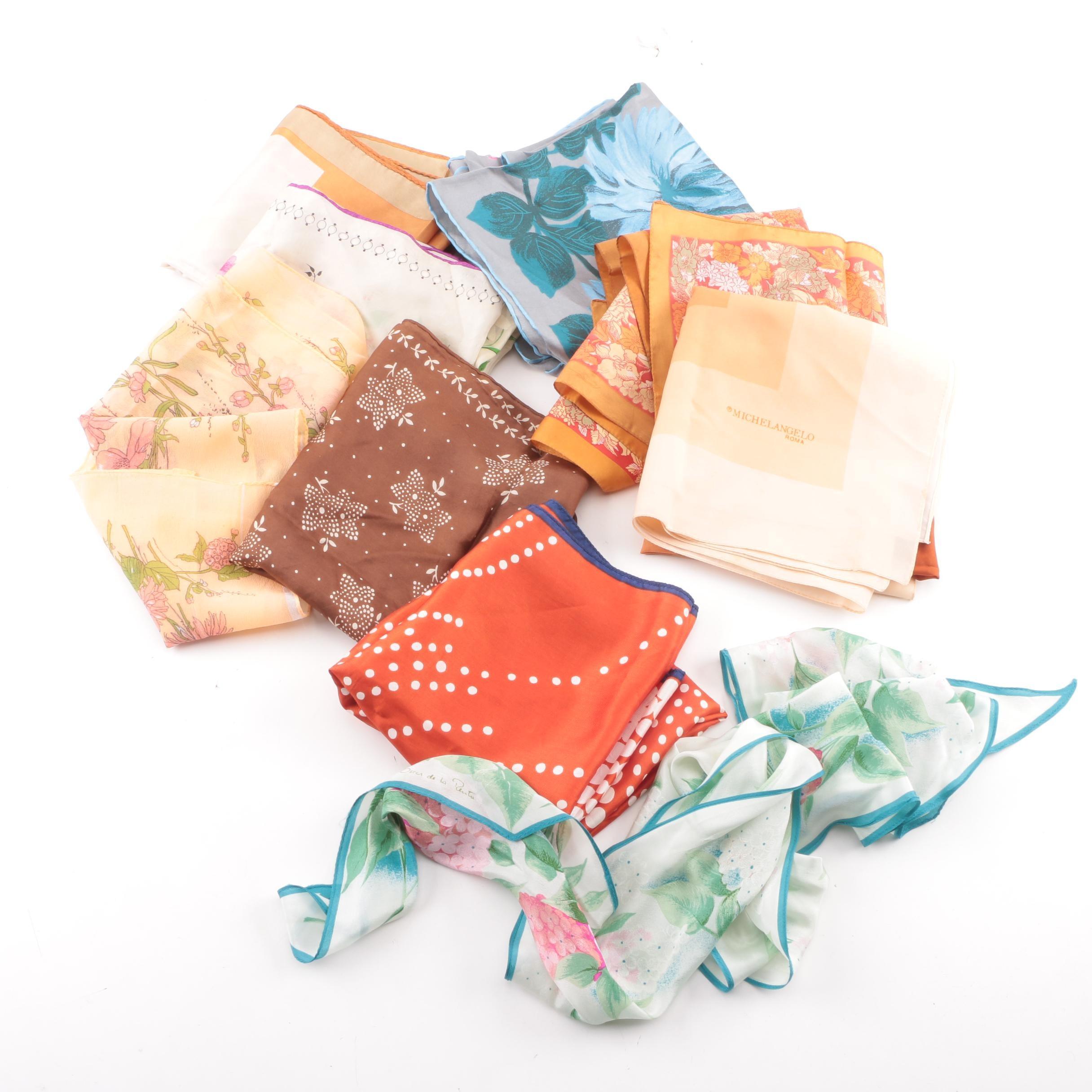 Vintage Floral and Polka Dot Print Scarves
