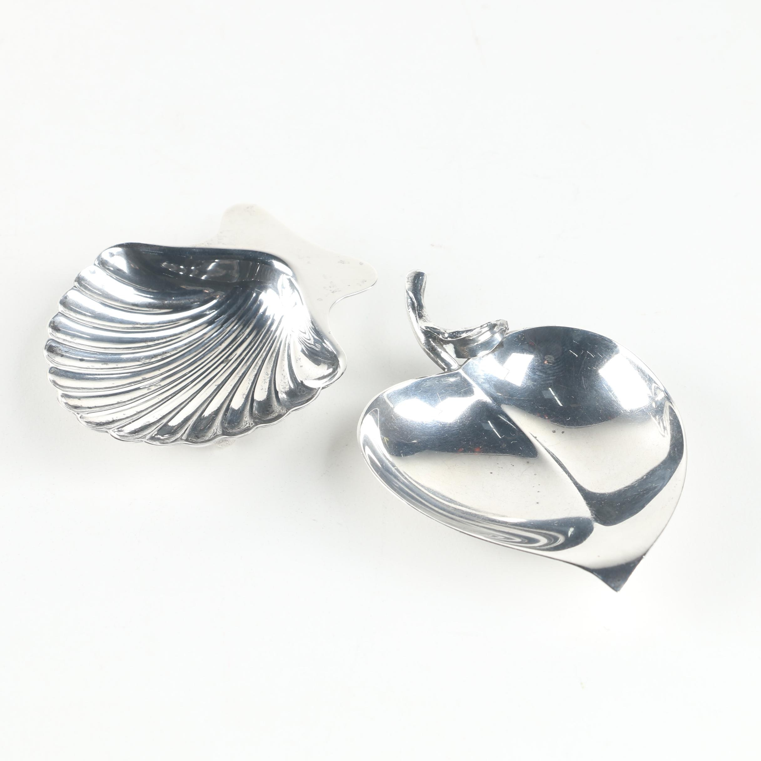 Tiffany & Co. Sterling Silver Leaf and Shell Motif Dishes