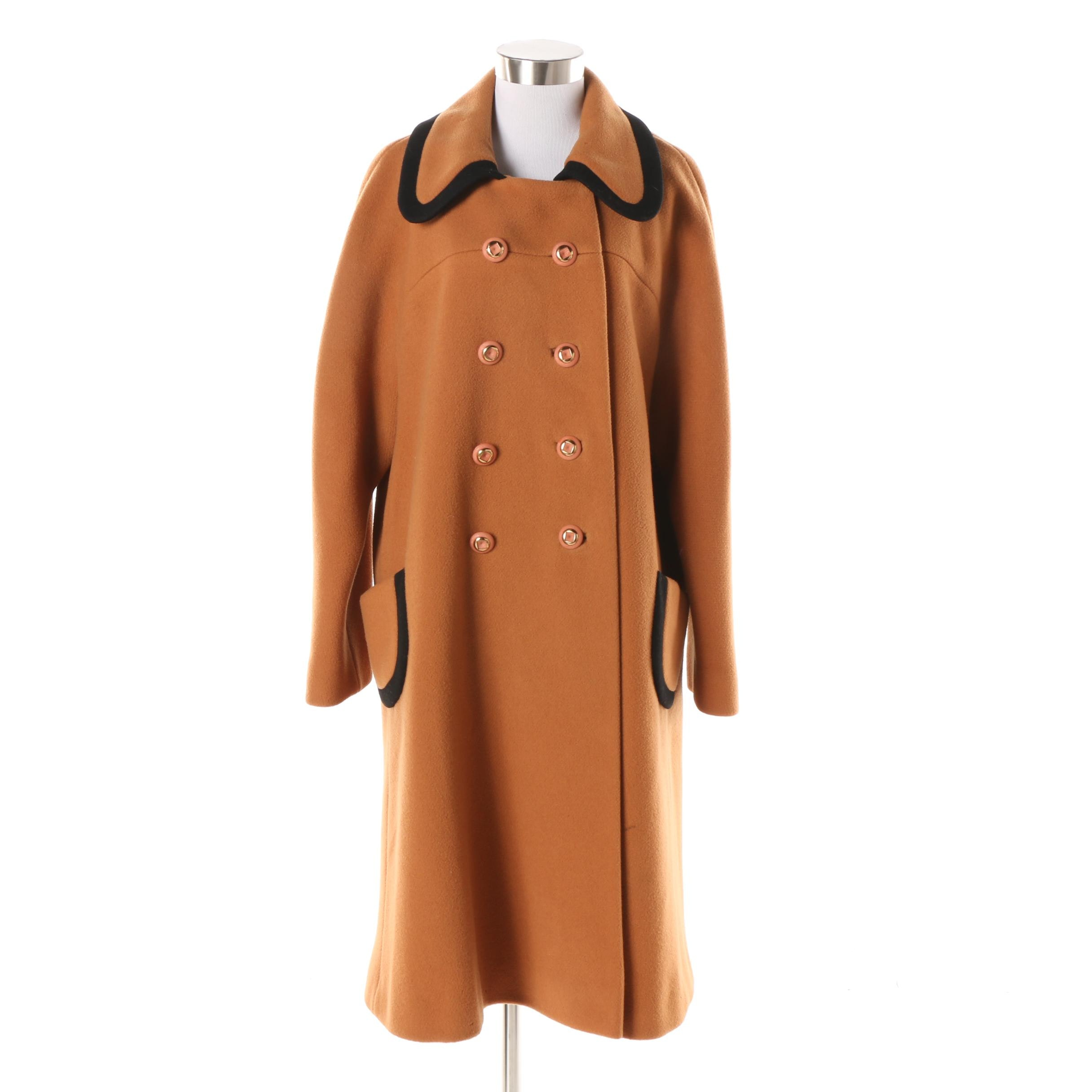 Women's Vintage Deardon Burnt Orange Wool Double-Breasted Coat