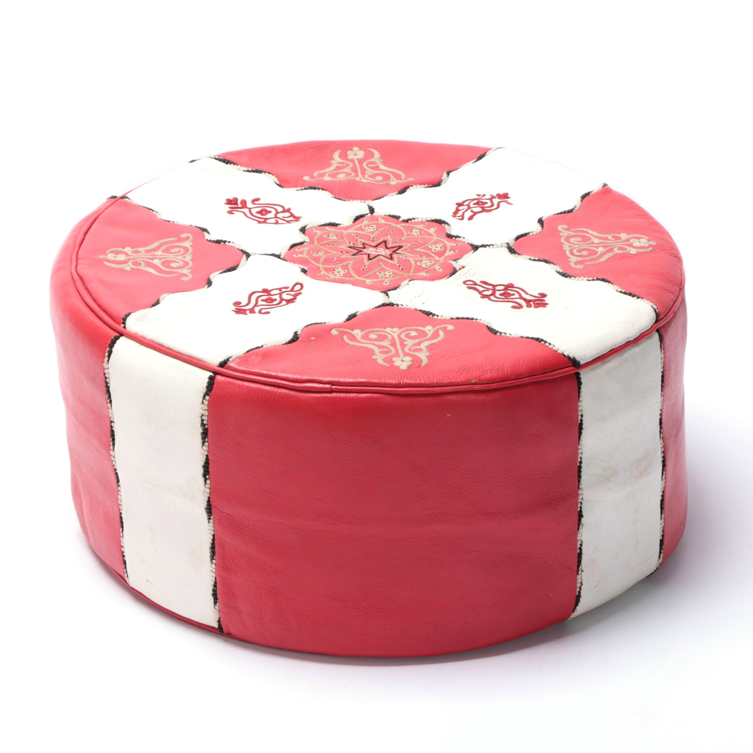 Faux Leather Embroidered Red and White Pouf