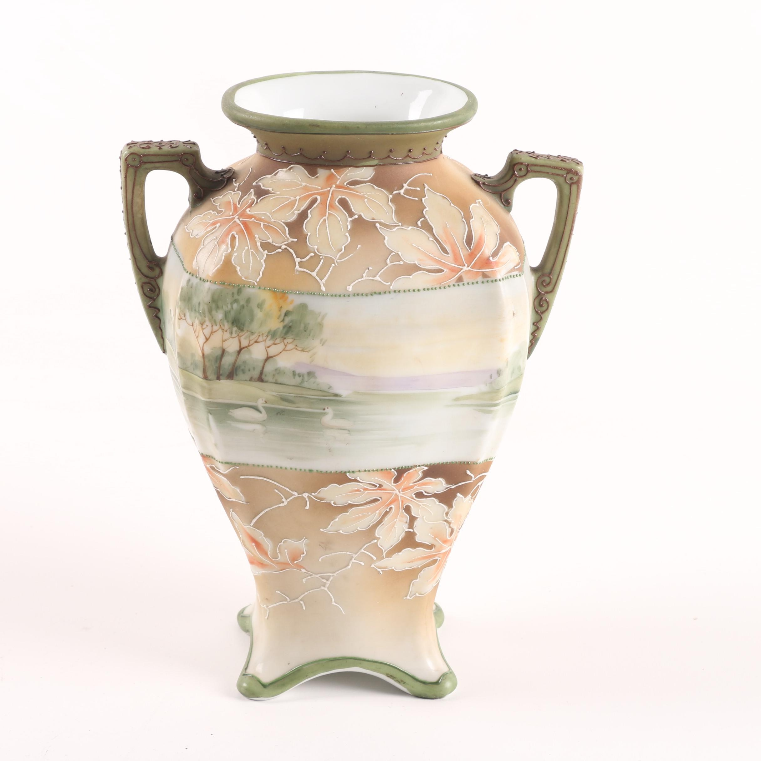Hand-Painted Noritake Scenic Porcelain Vase with Moriage Details