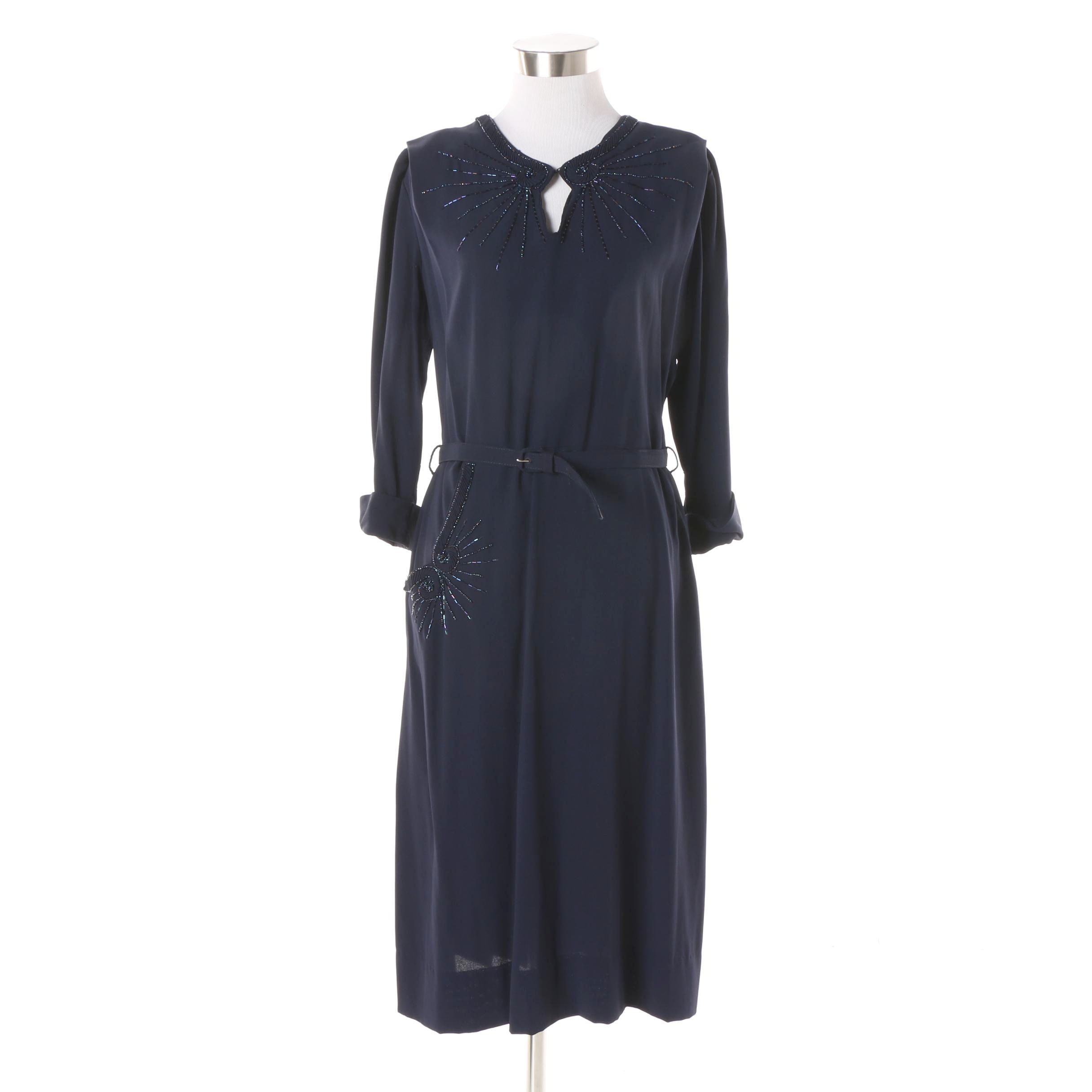 1950s Vintage Form Fit Dresses New York Navy Blue Bead Accented Cocktail Dress