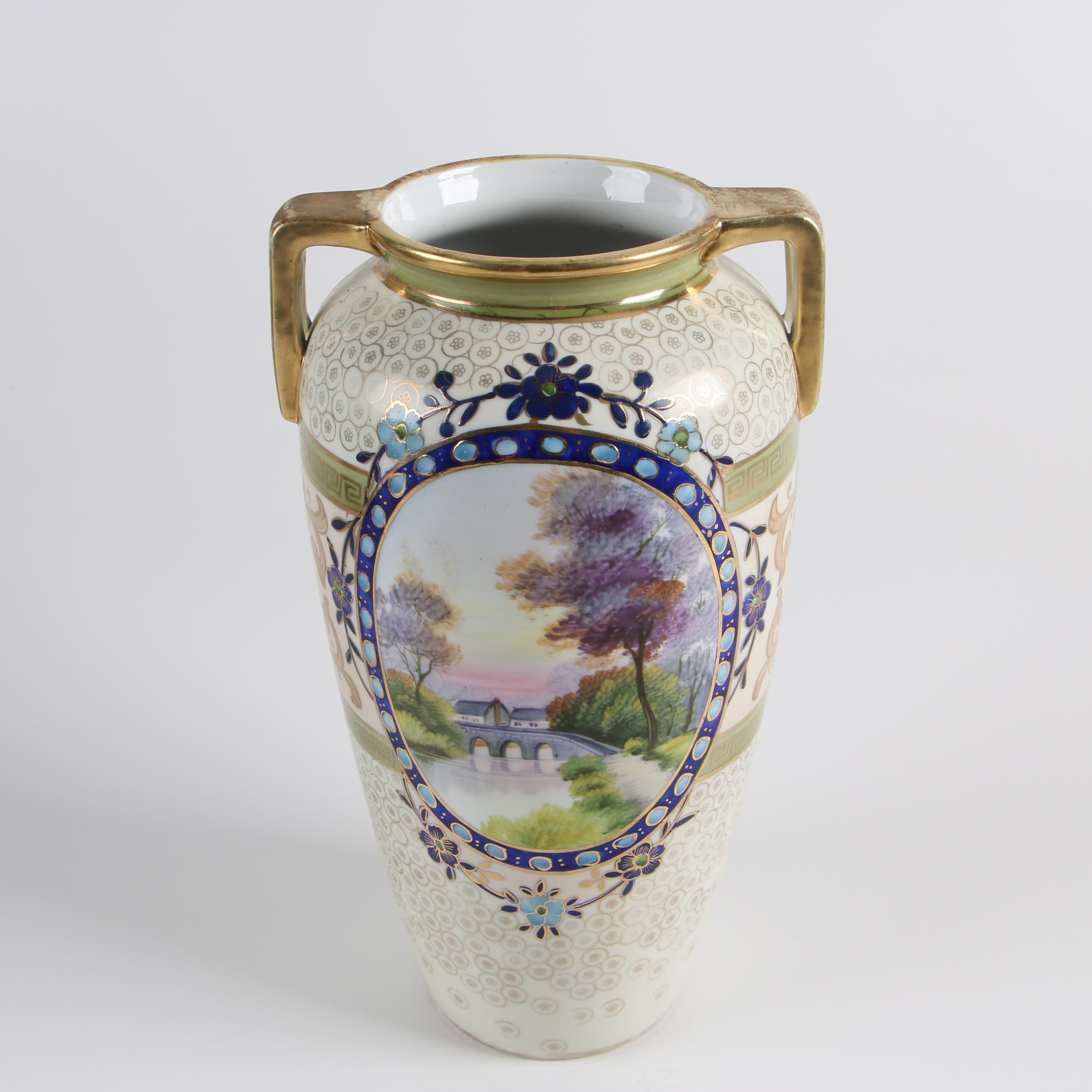 Art Deco Hand-Painted Noritake Scenic Porcelain Vase with Gilt Accents