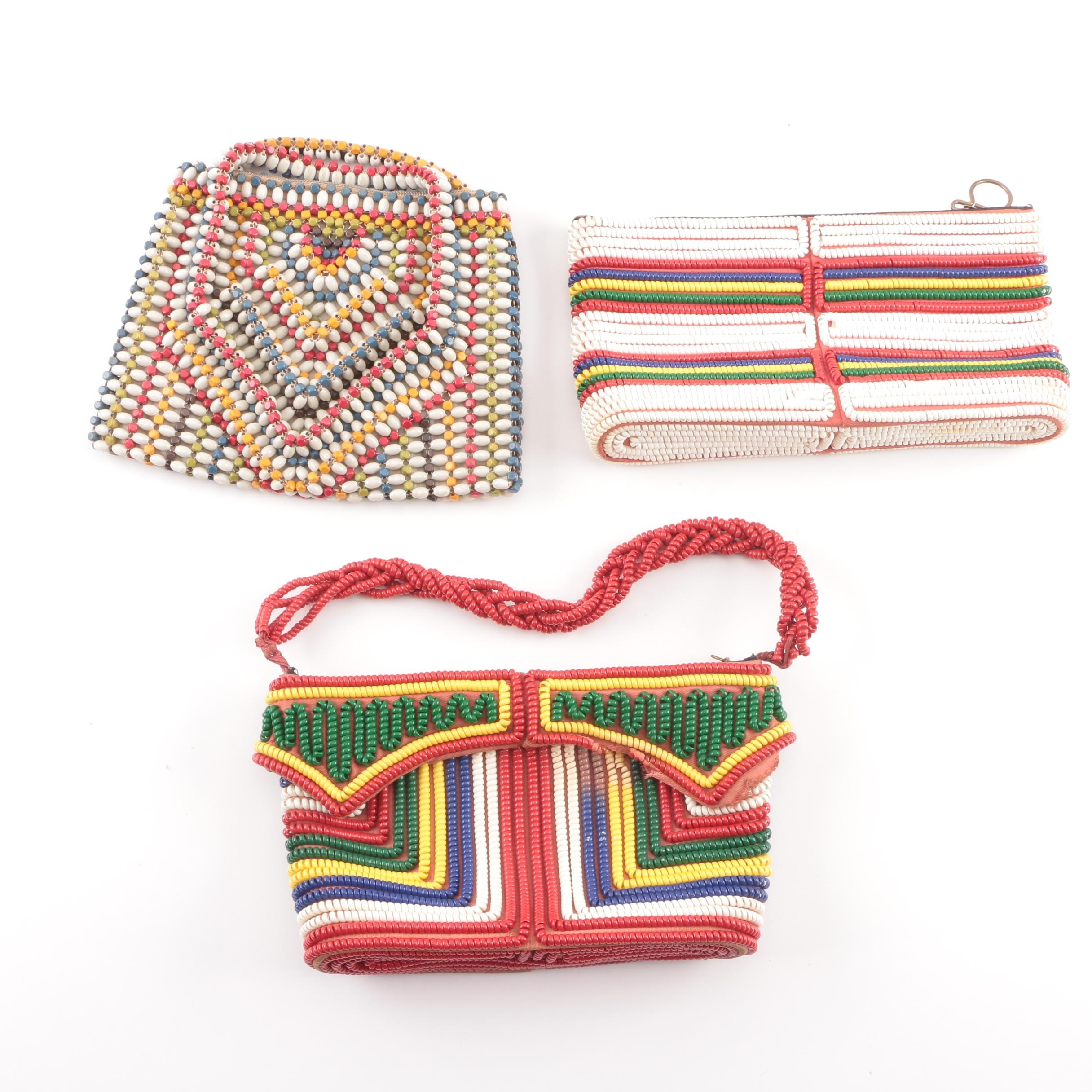 Vintage Suzanne Czechoslovakia Beaded and Telephone Cord Handbags