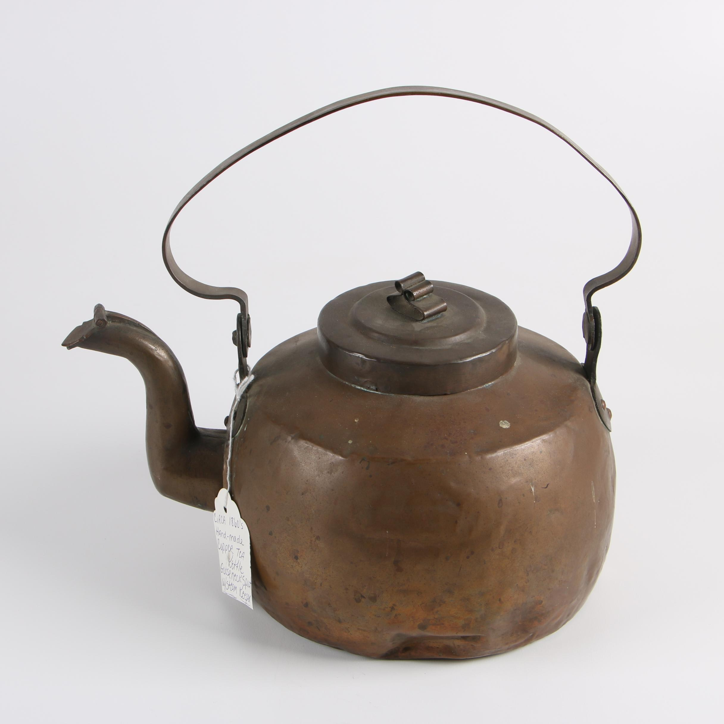 19th Century Dovetailed Copper Kettle with Covered Gooseneck Spout