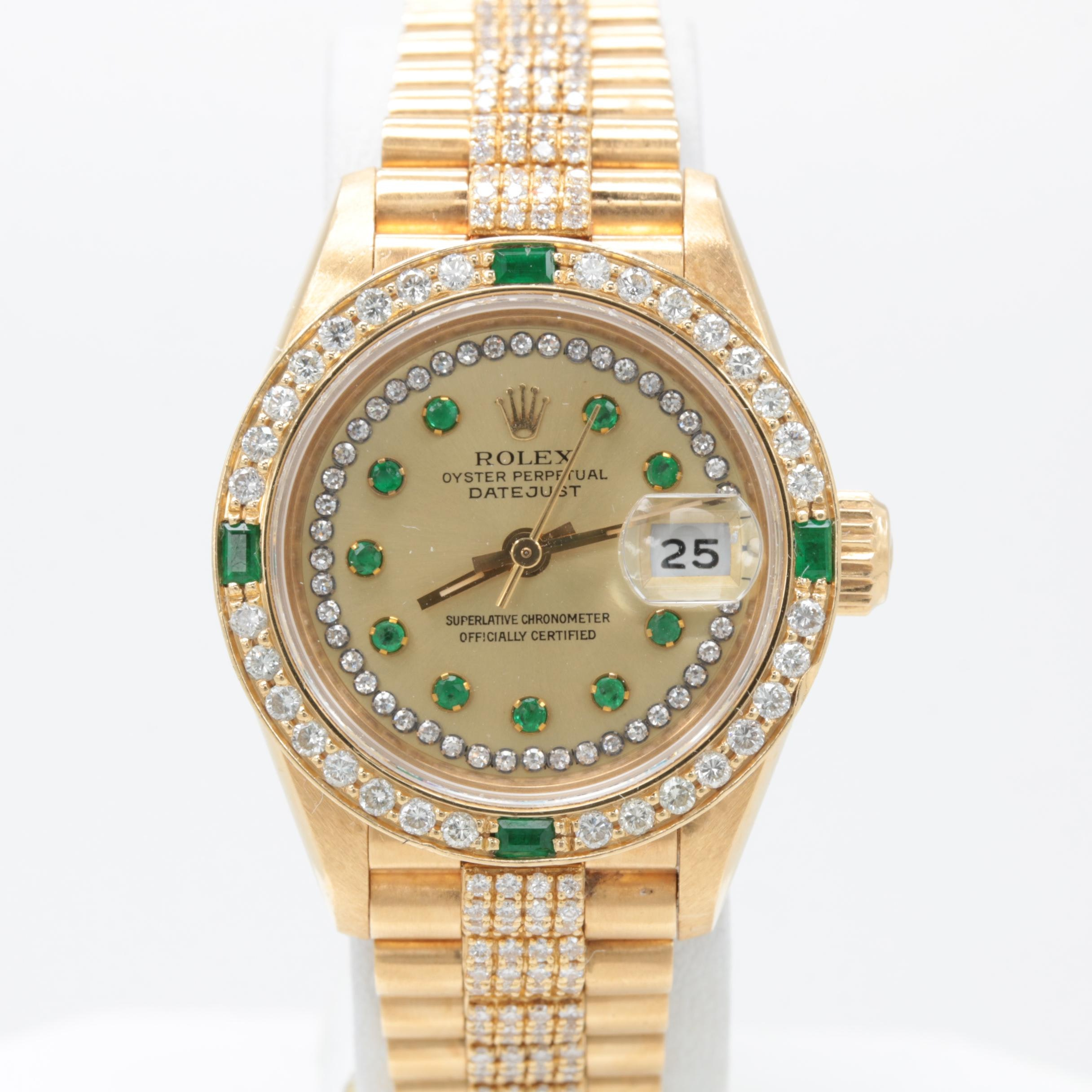 Rolex Datejust 18K Yellow Gold 3.01 CTW Diamond and Emerald Wristwatch