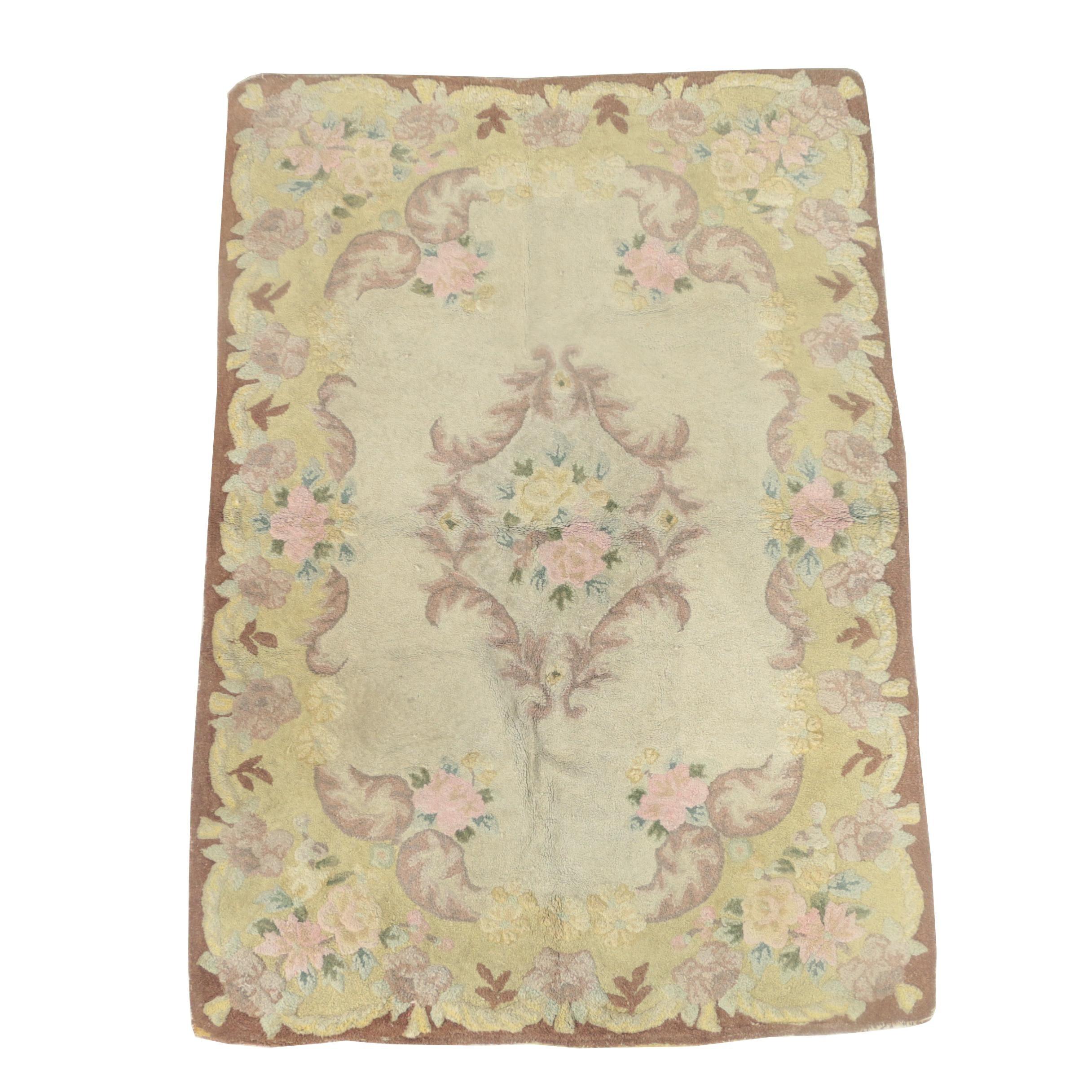 Vintage Hooked Floral and Foliate Wool Area Rug