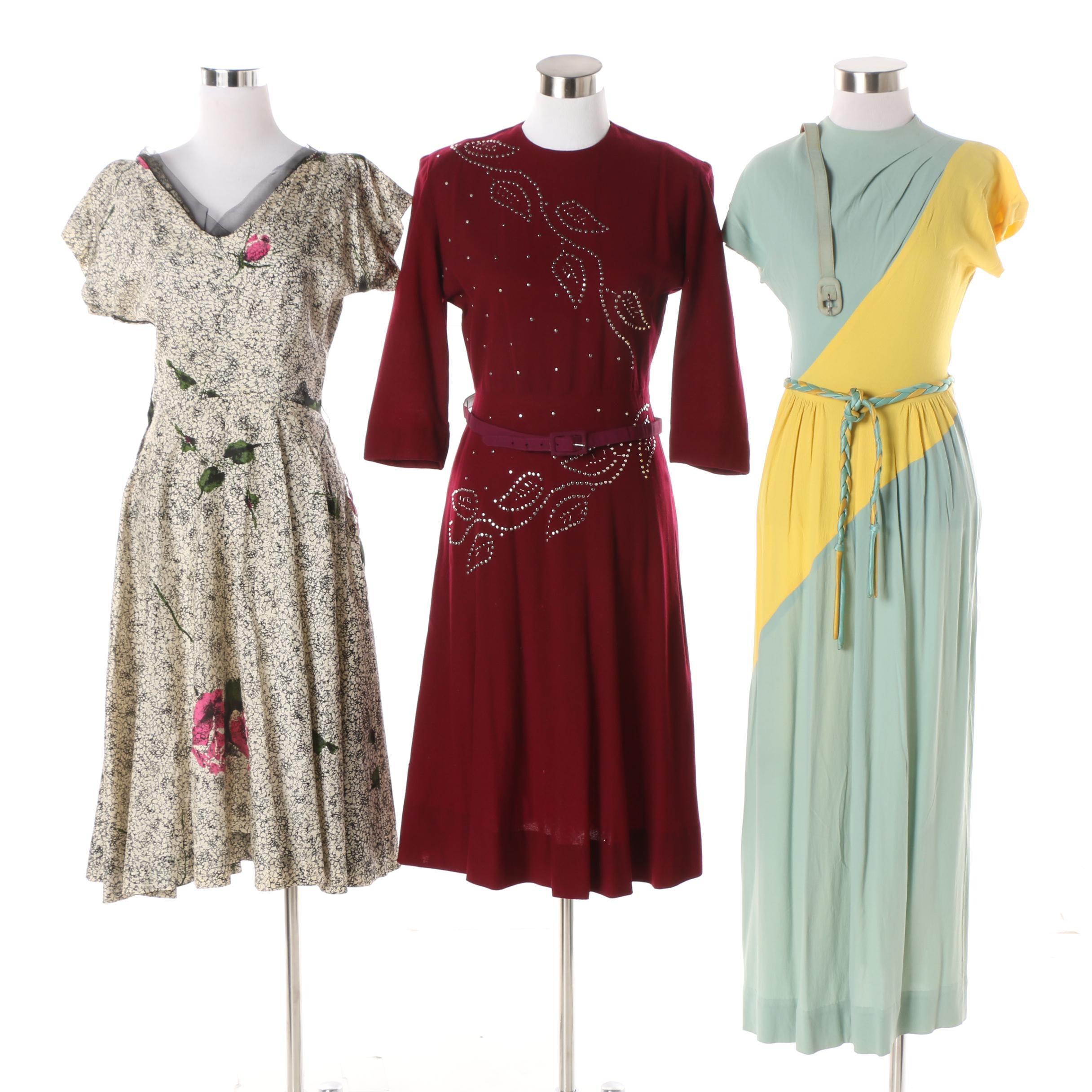 Women's 1950-60s Vintage Dresses including Ruth Jones and Blum's Vogue