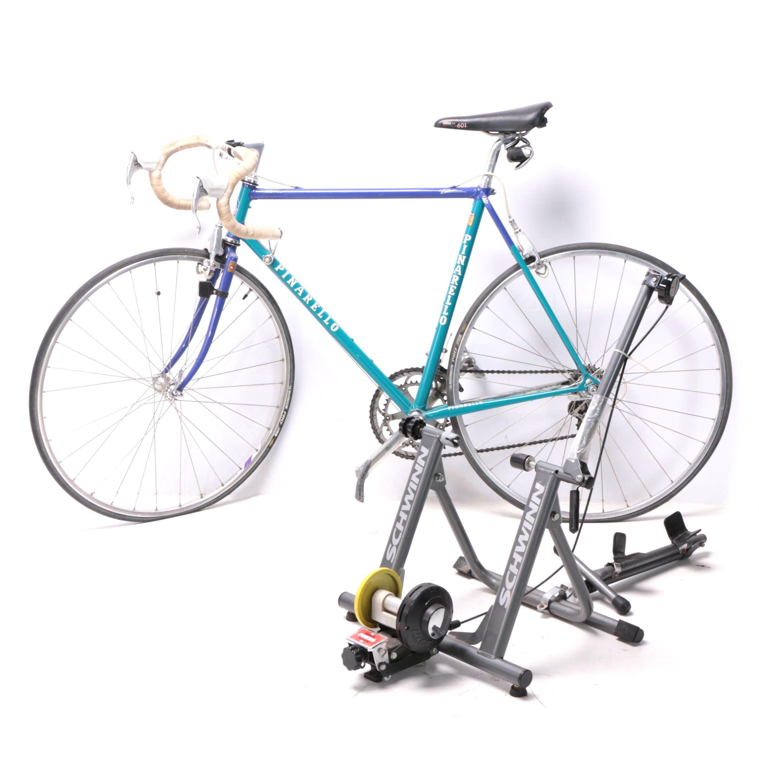 Pinarello Treviso Italia Bicycle and Schwinn Mag Turbo Bike Trainer