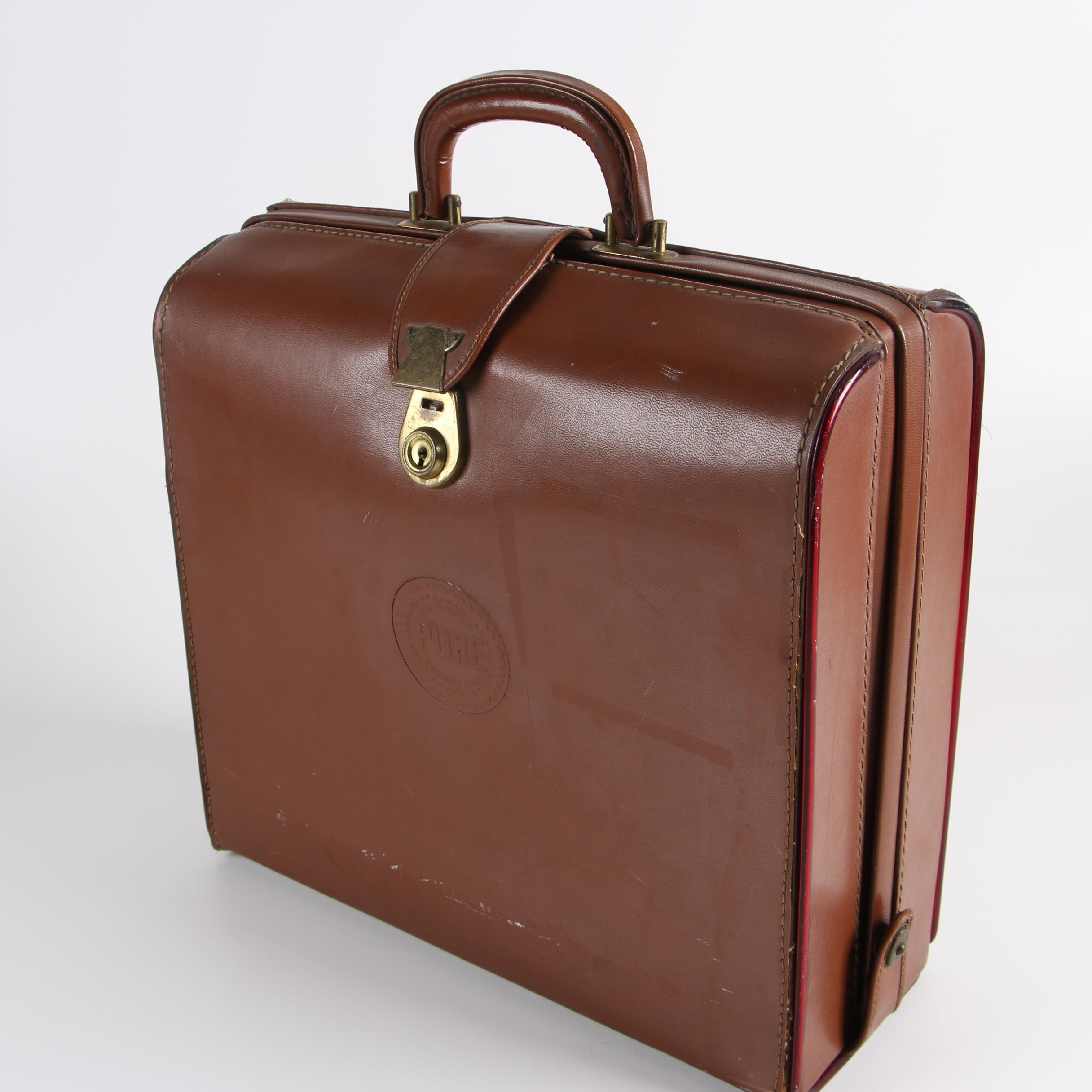 Vintage Salesman's Leather Briefcase for the Pure Oil Company