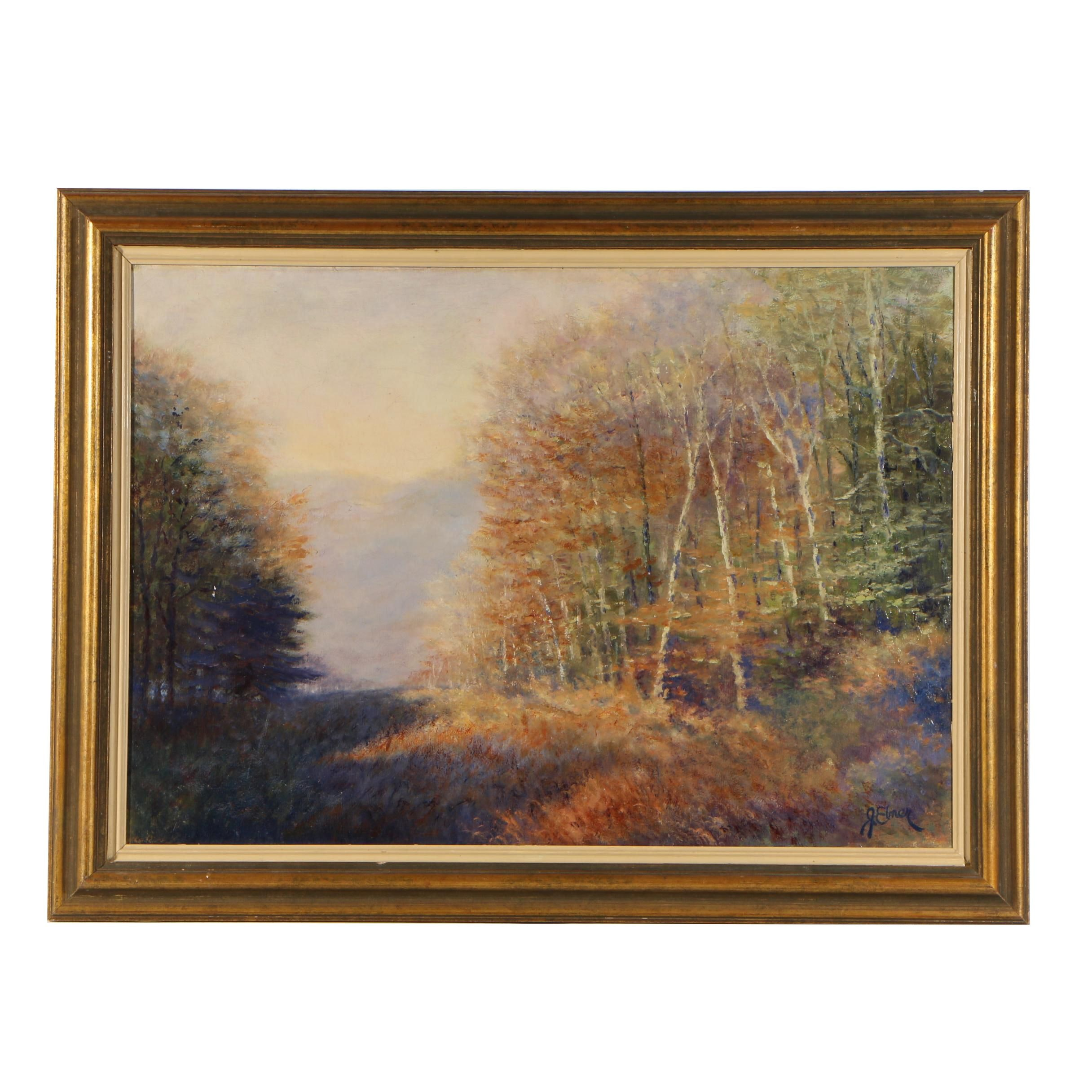 "J. Elmer Oil Painting ""Great Eastern Gorge"""