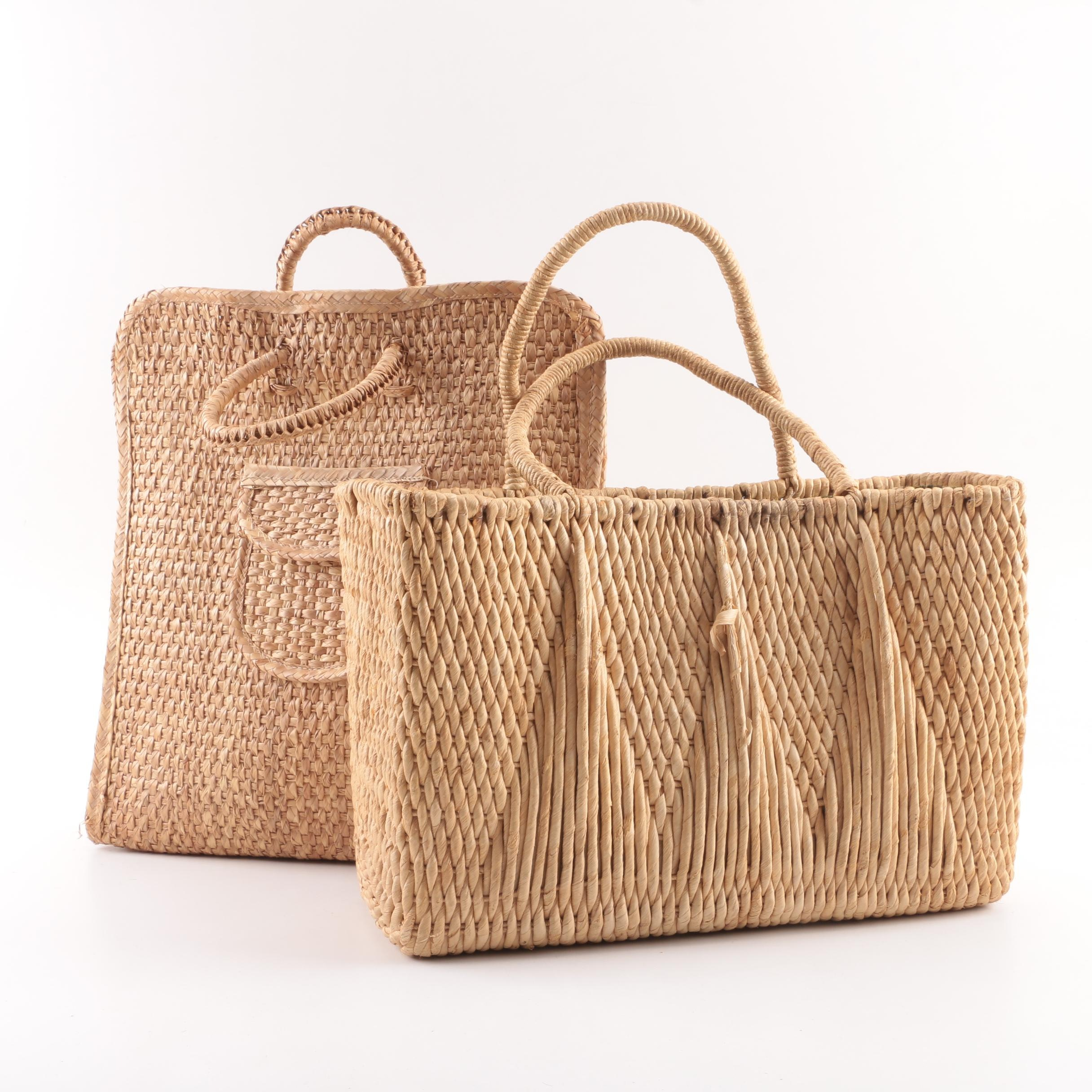Vintage Woven Straw Tote Bags