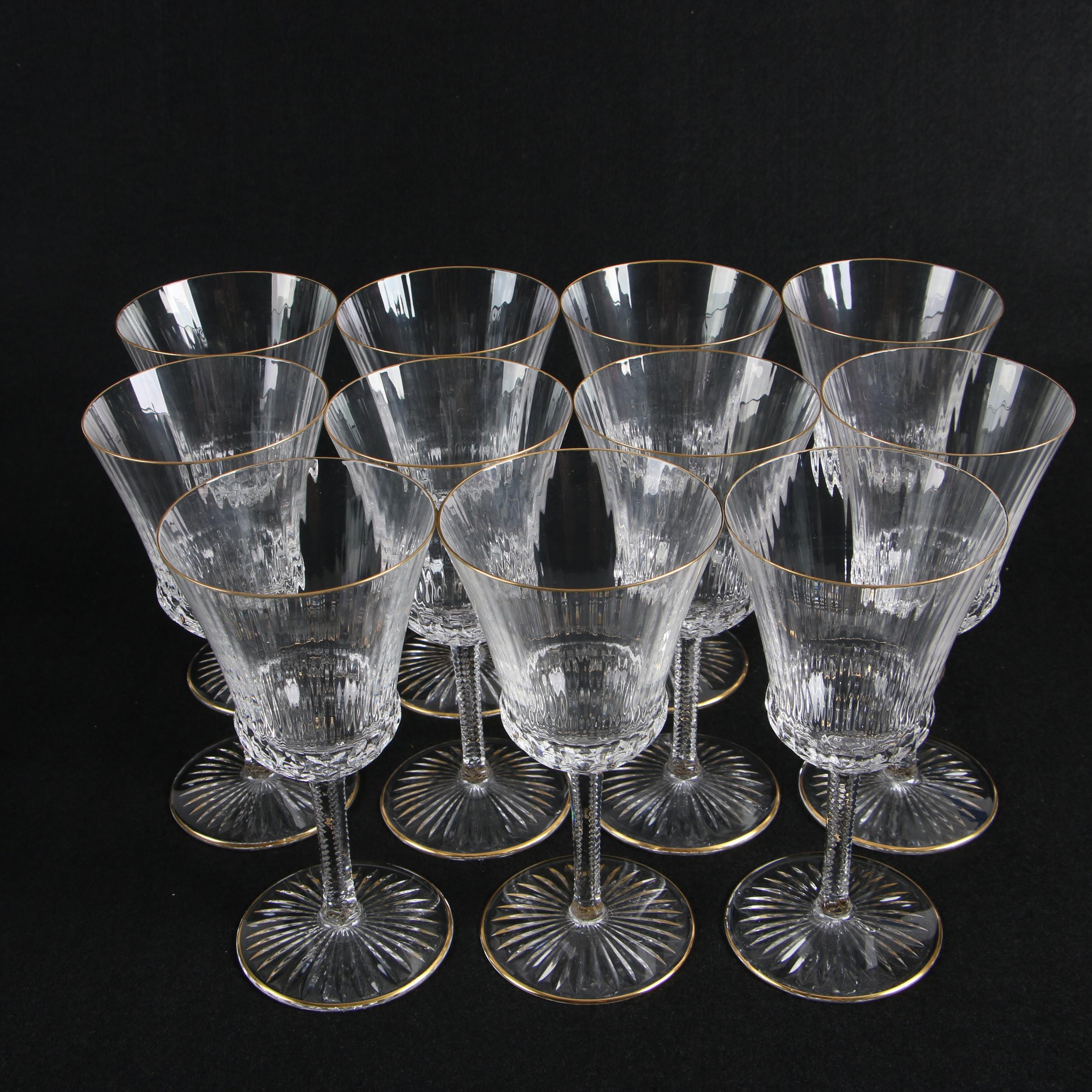 Optic Bowl Wine Glasses With Gilt Rims and Faceted Stems