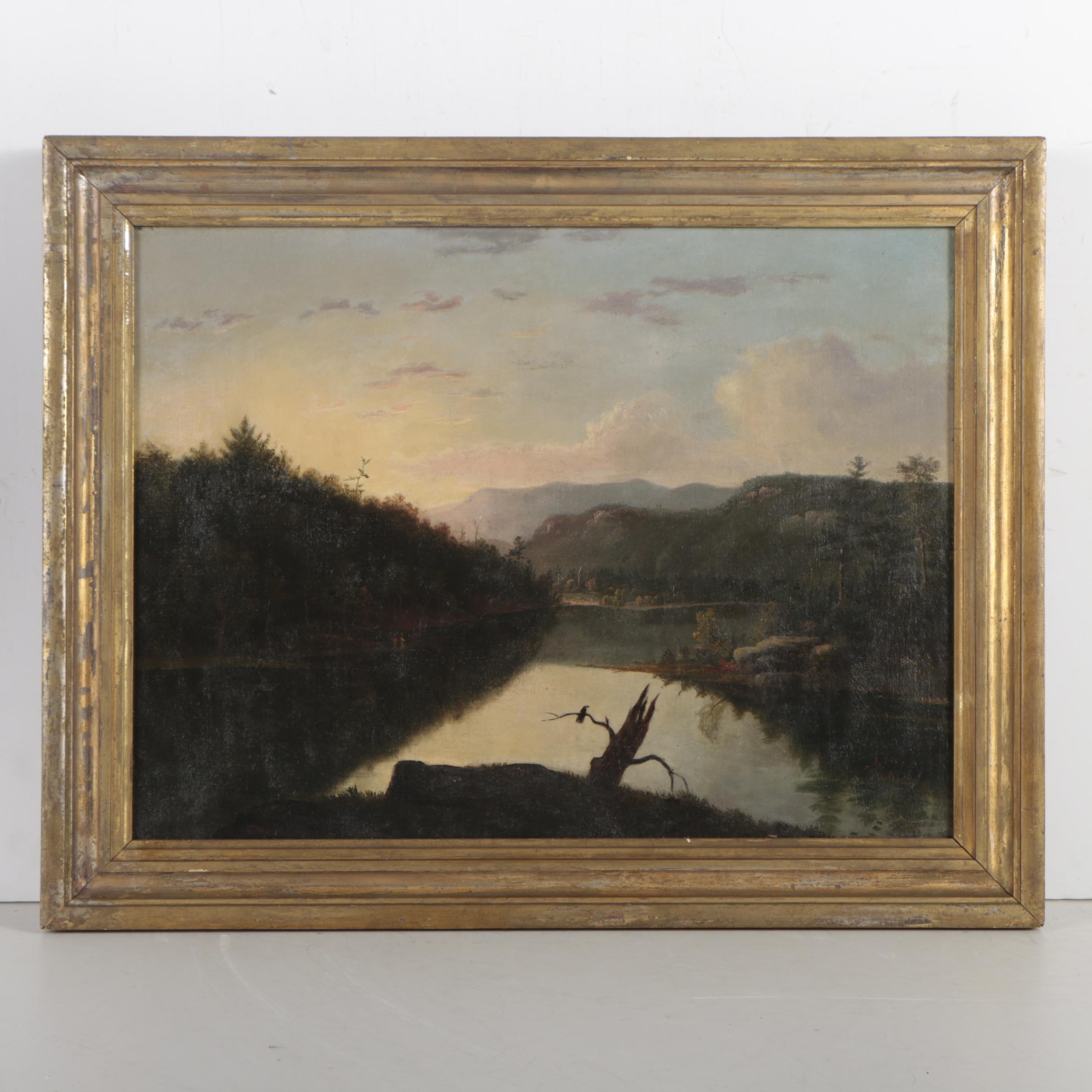 "Attributed to William G. Boardman Oil Painting ""Green's Lake Catskill Mountain"""