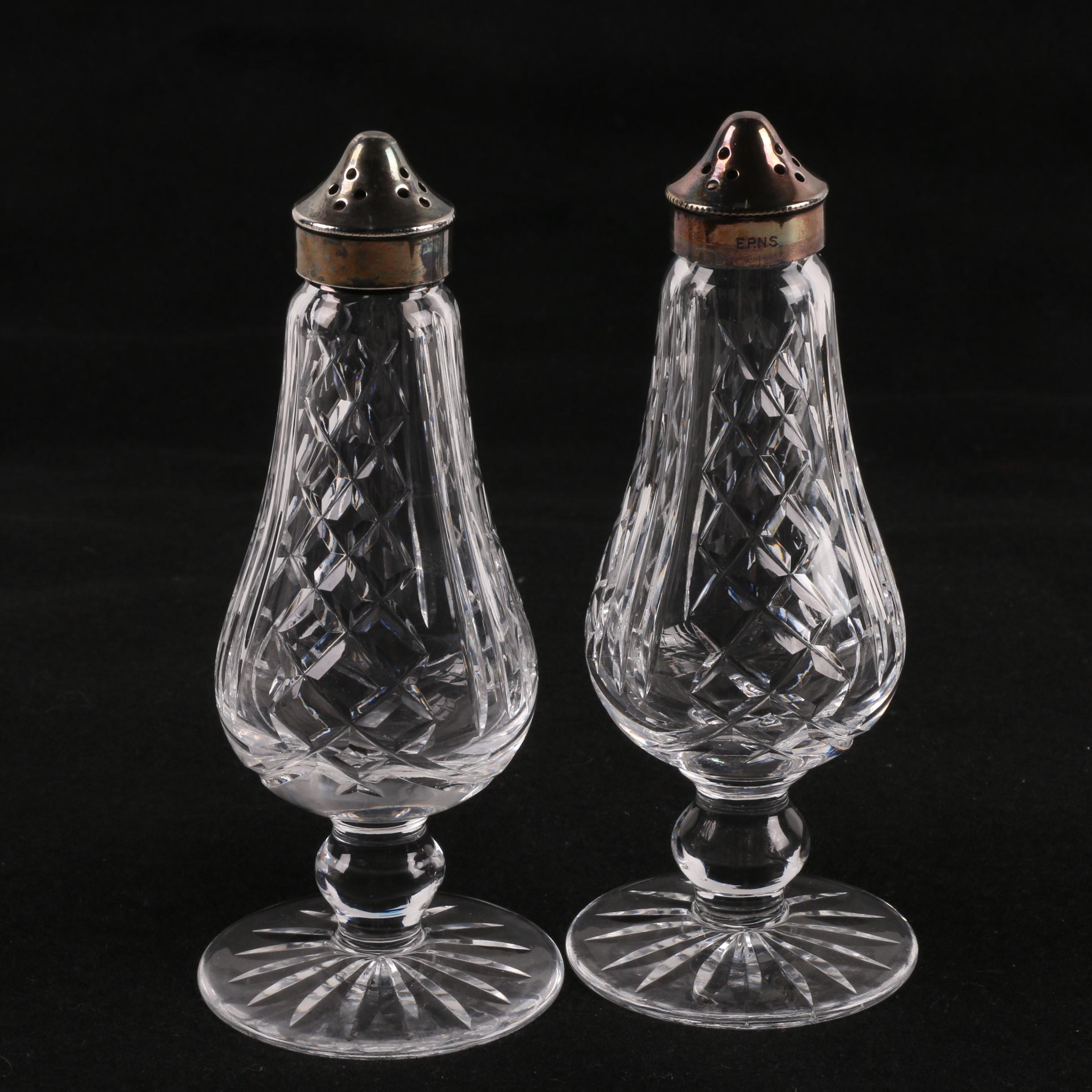 Waterford Crystal Salt and Pepper Shakers with Silver Plated Caps