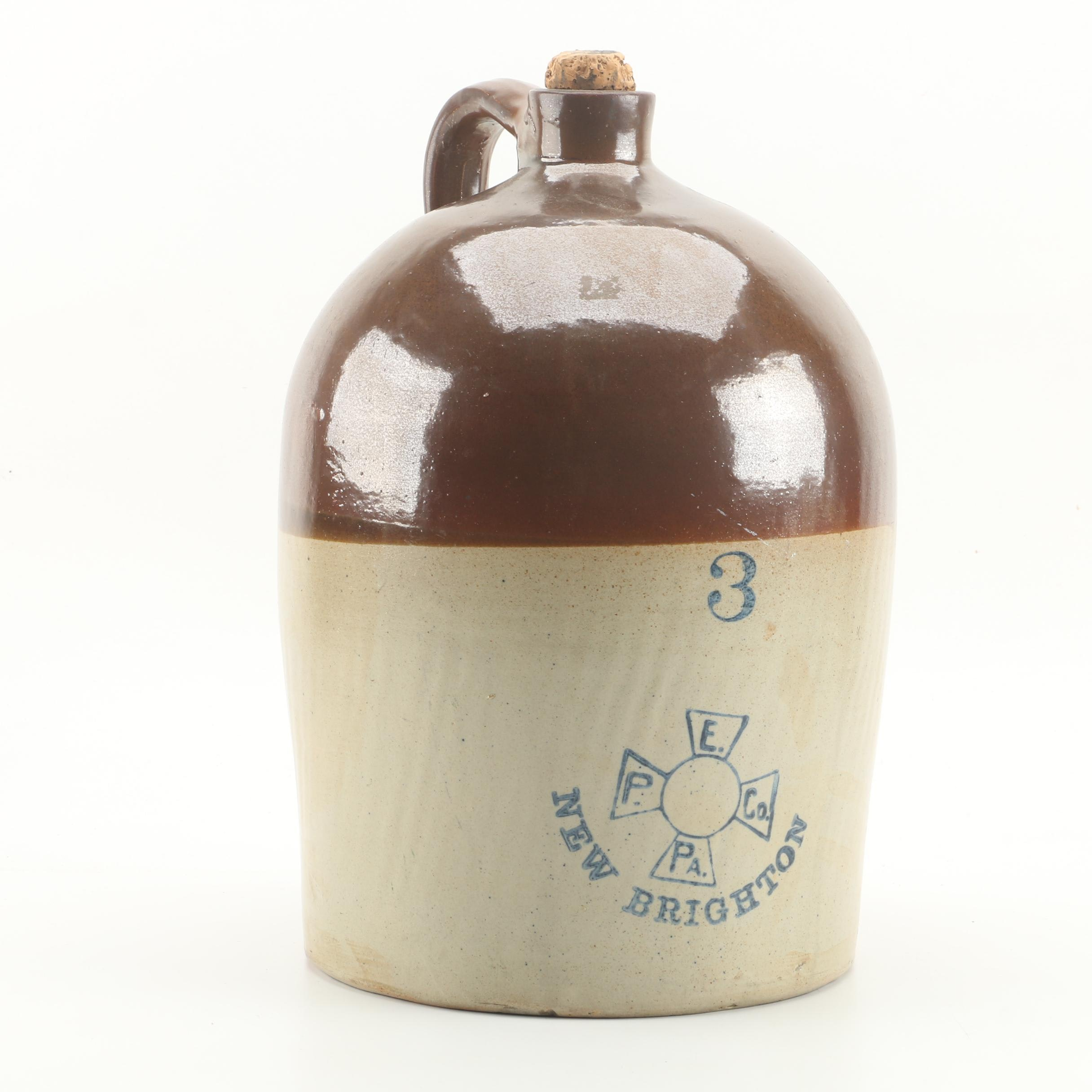 Enterprise Pottery Co. Stoneware 3-Gallon Jug, Late 19th/ Early 20th Century