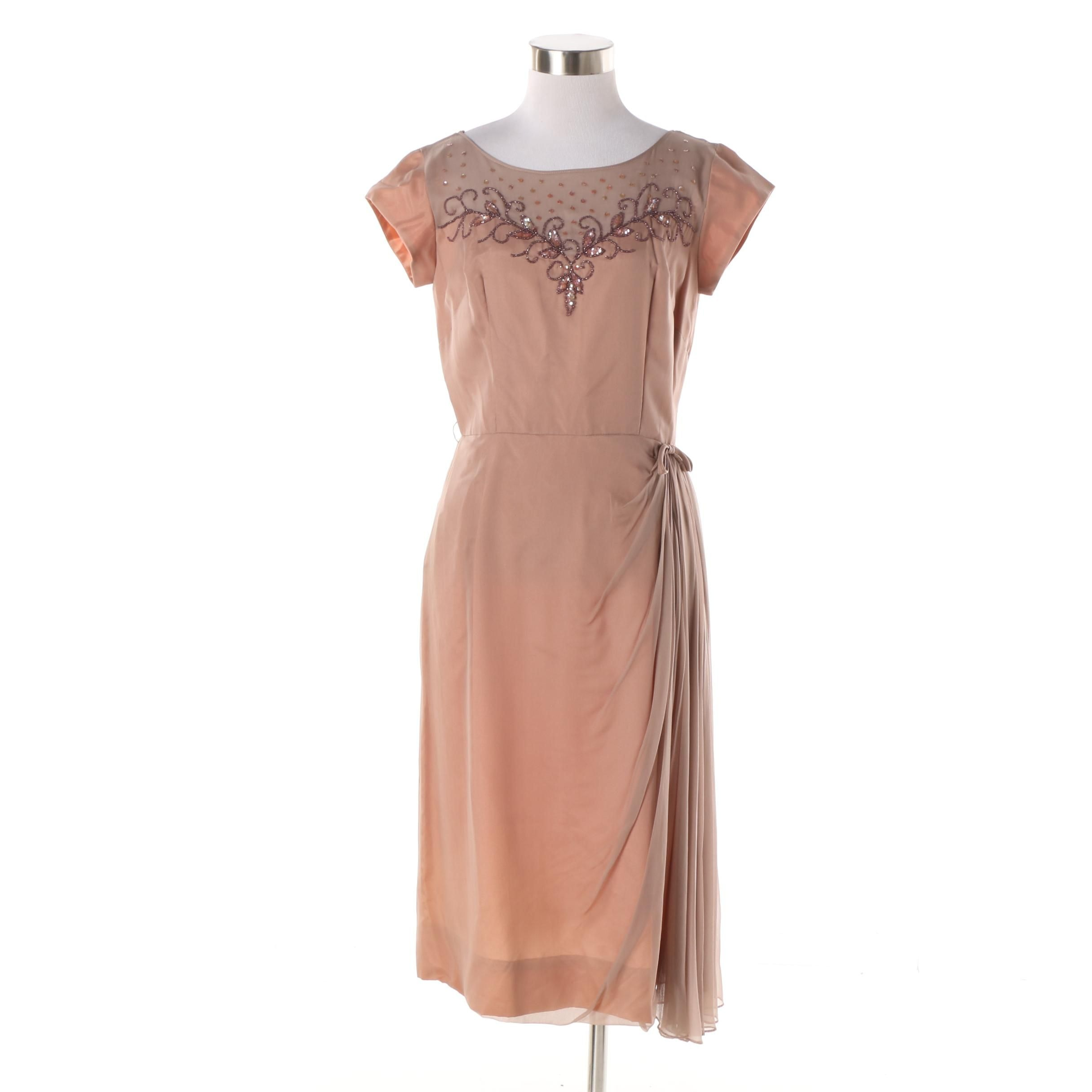 1950s Vintage Mauve Beaded Cocktail Dress with Chiffon Draped Skirt