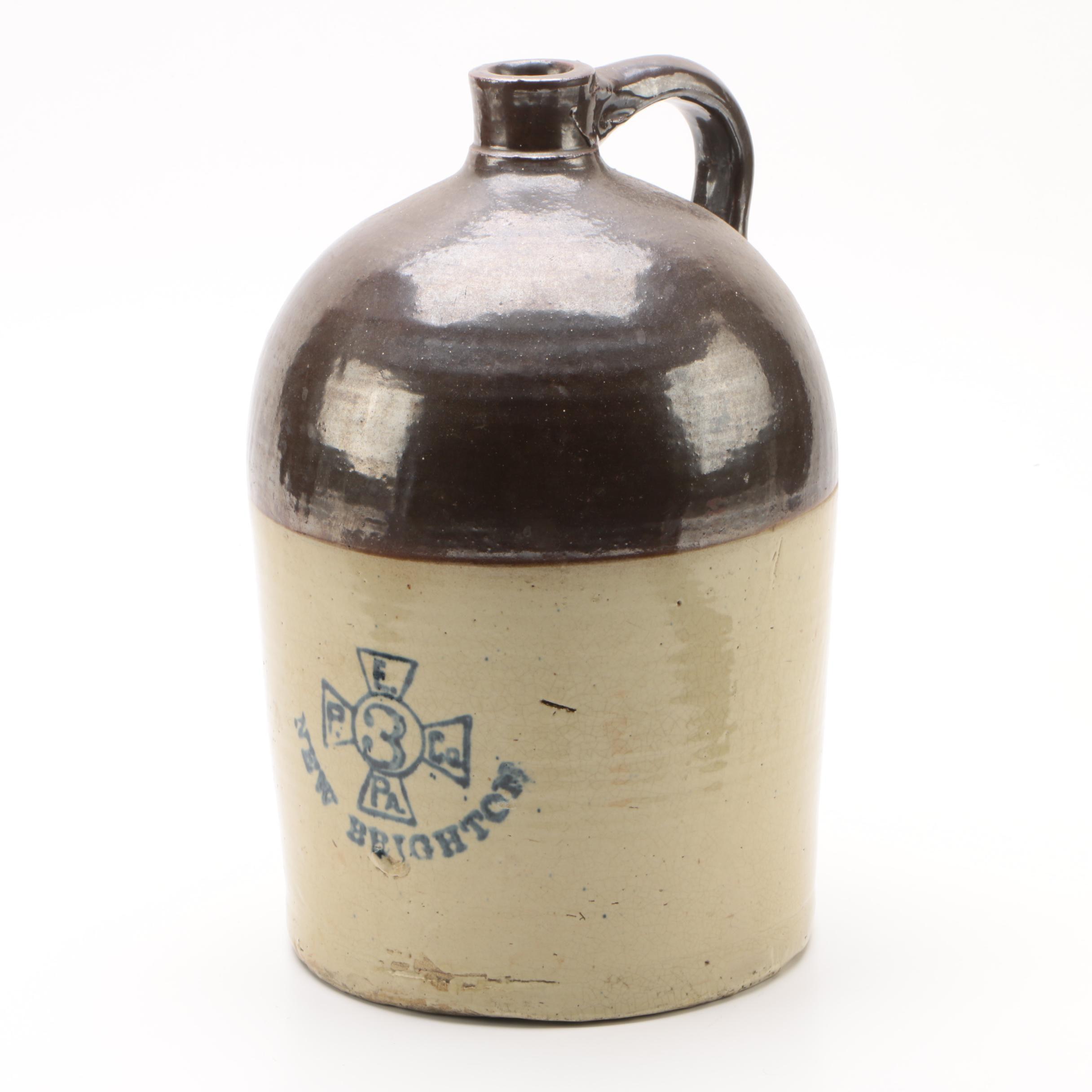 Enterprise Pottery Co. 3-Gallon Stoneware Jug, Late 19th/ Early 20th Century