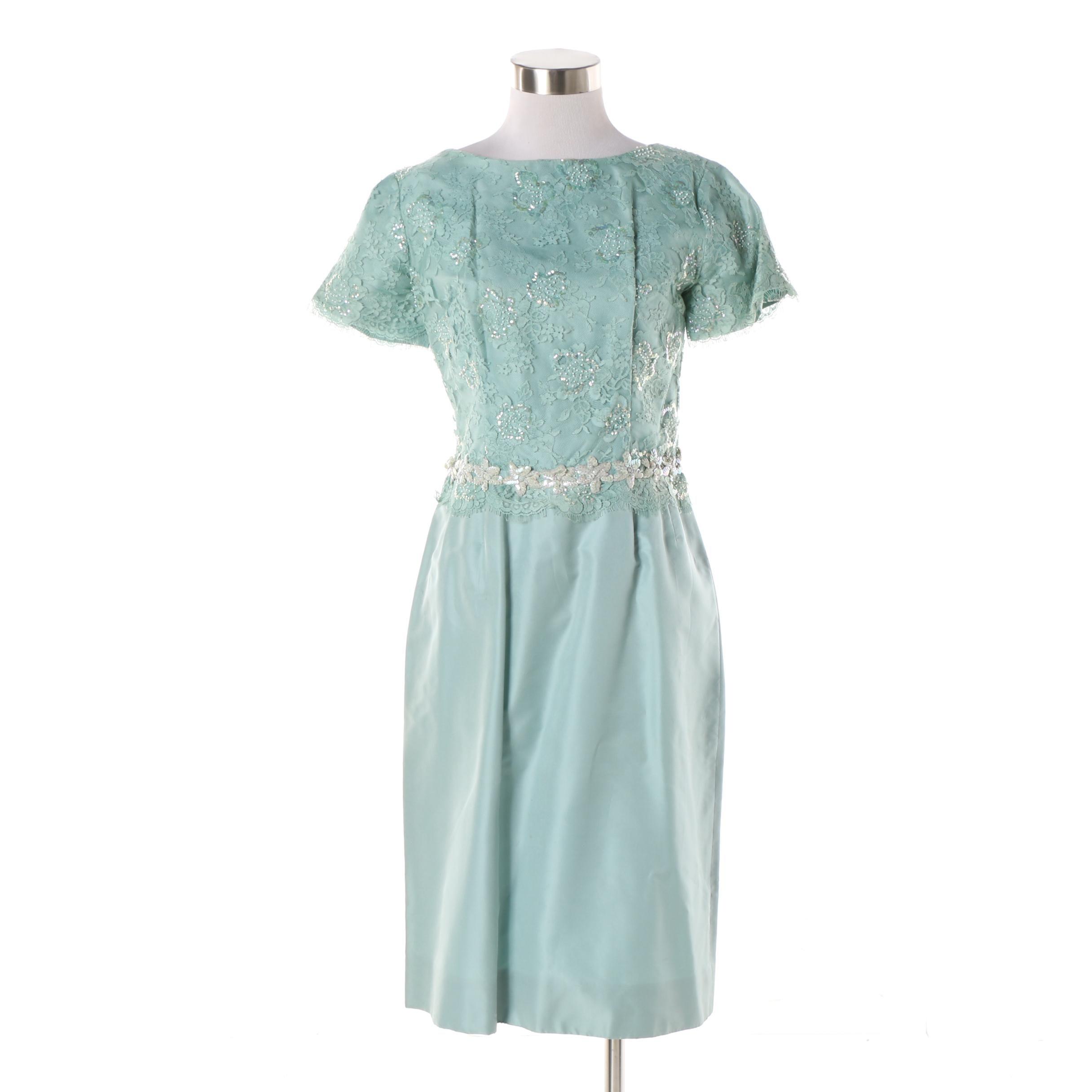 1960s Vintage Aqua Sequin and Lace Cocktail Dress