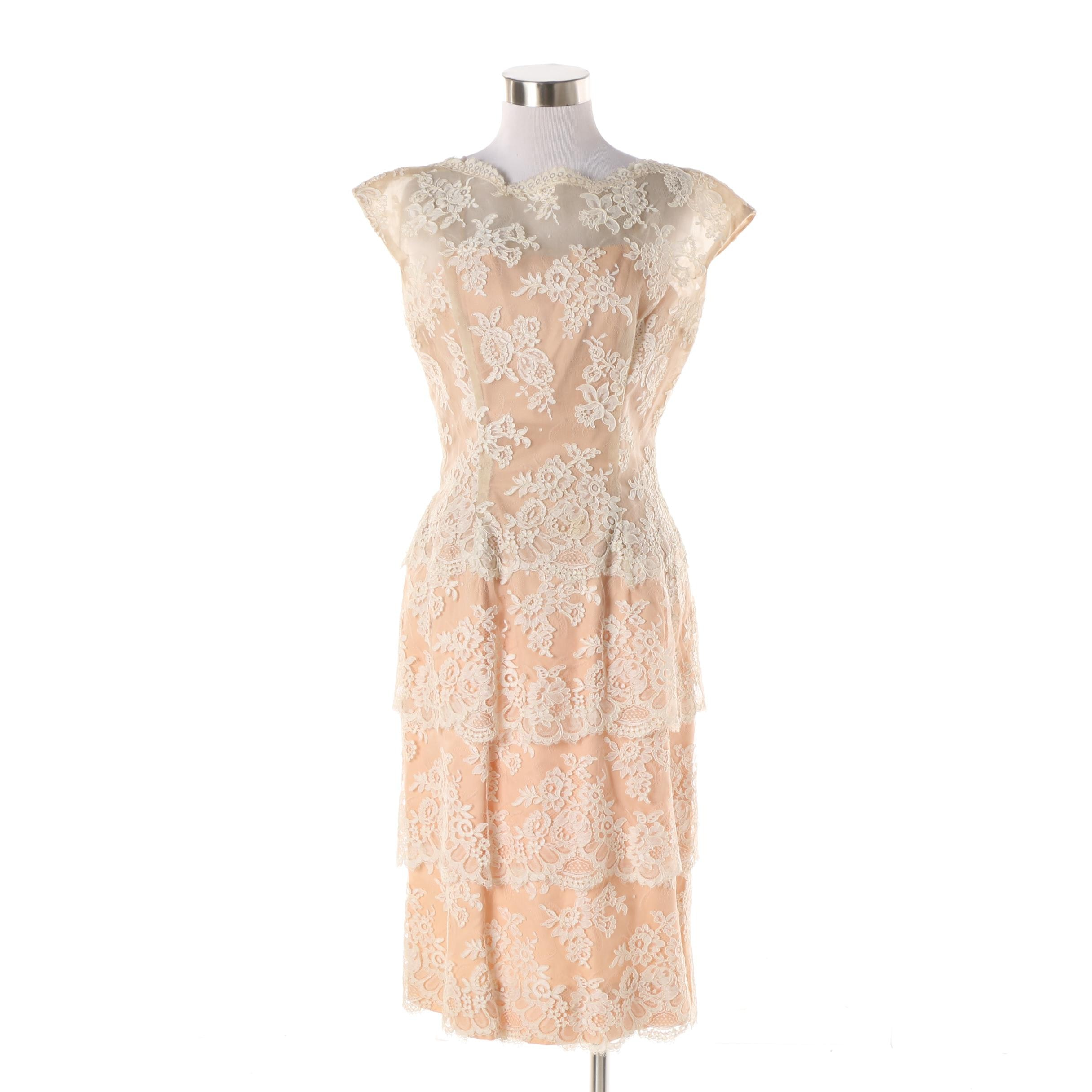 1950s Vintage Mr. Frank New York Original Tiered Lace Cocktail Dress
