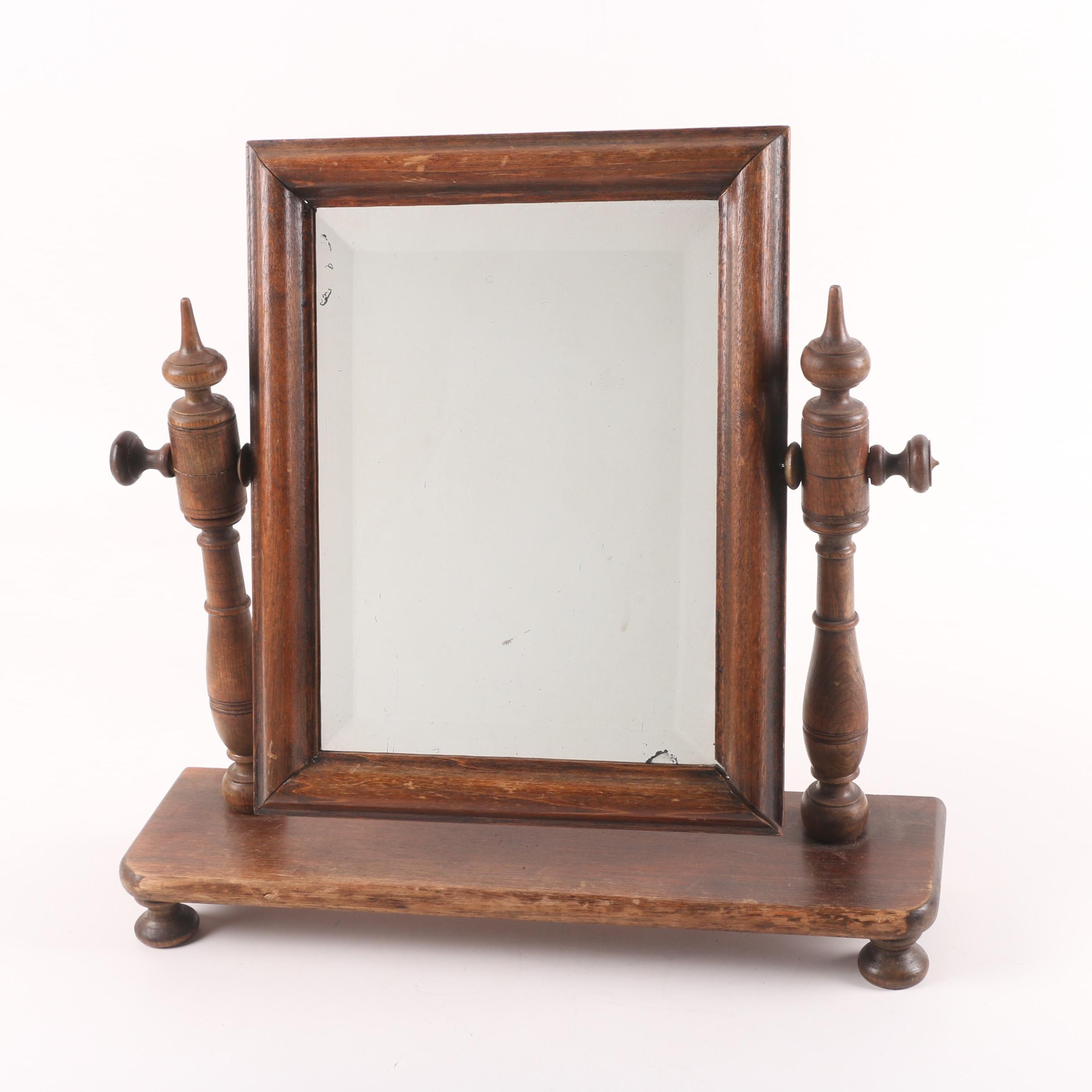 Antique Beveled Vanity Mirror with Turned Cheval Base