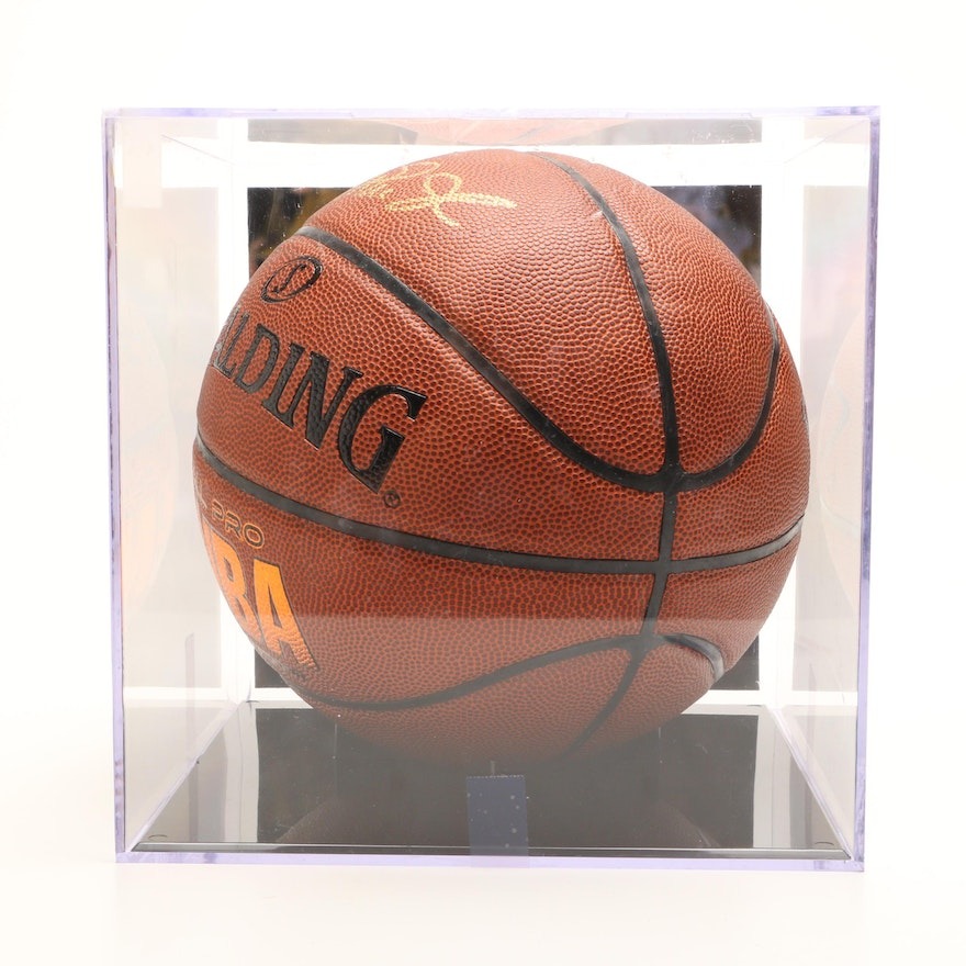 reputable site 8b0d0 a64e2 Magic Johnson Signed NBA Basketball In Holder COA