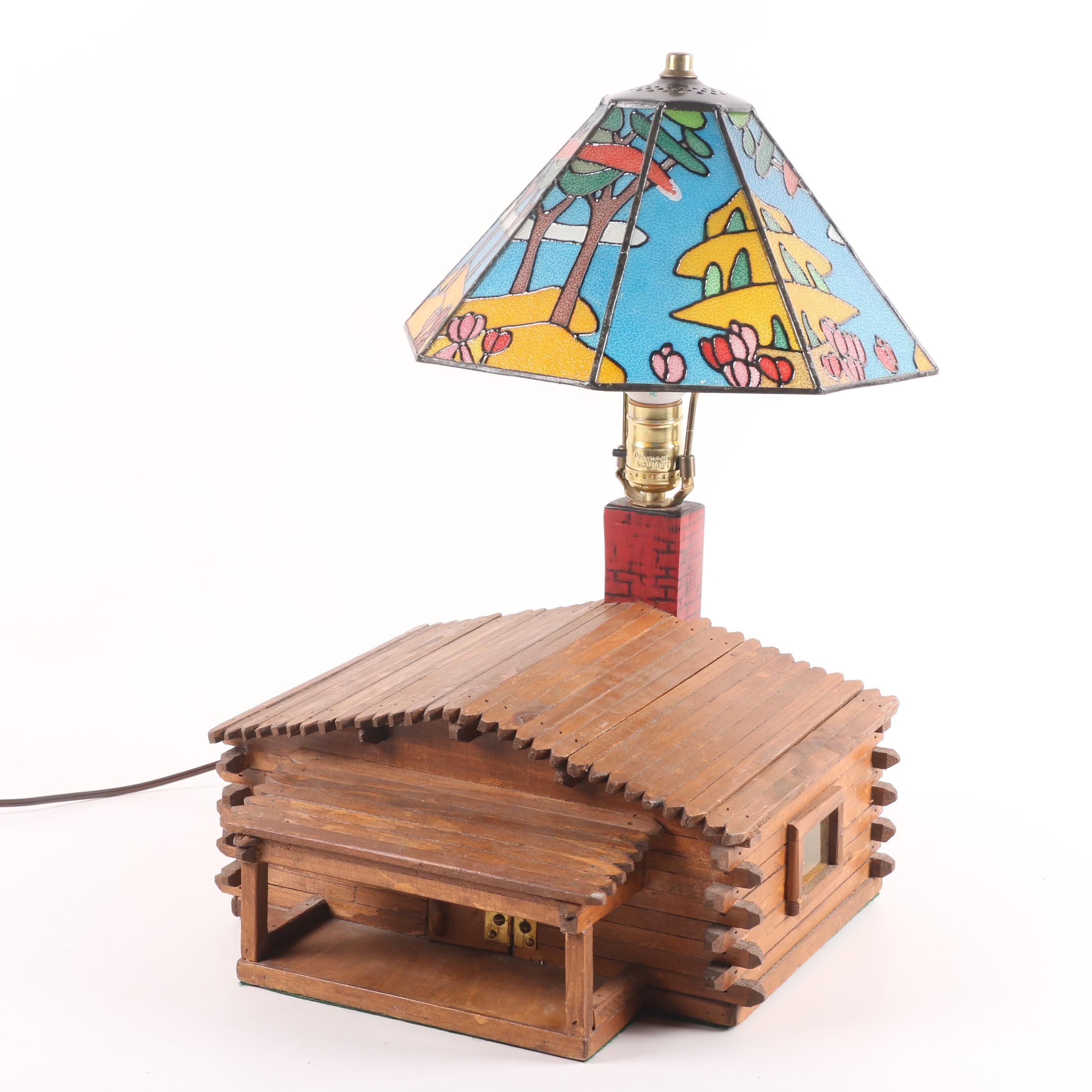 Vintage Folk Art Cabin Lamp