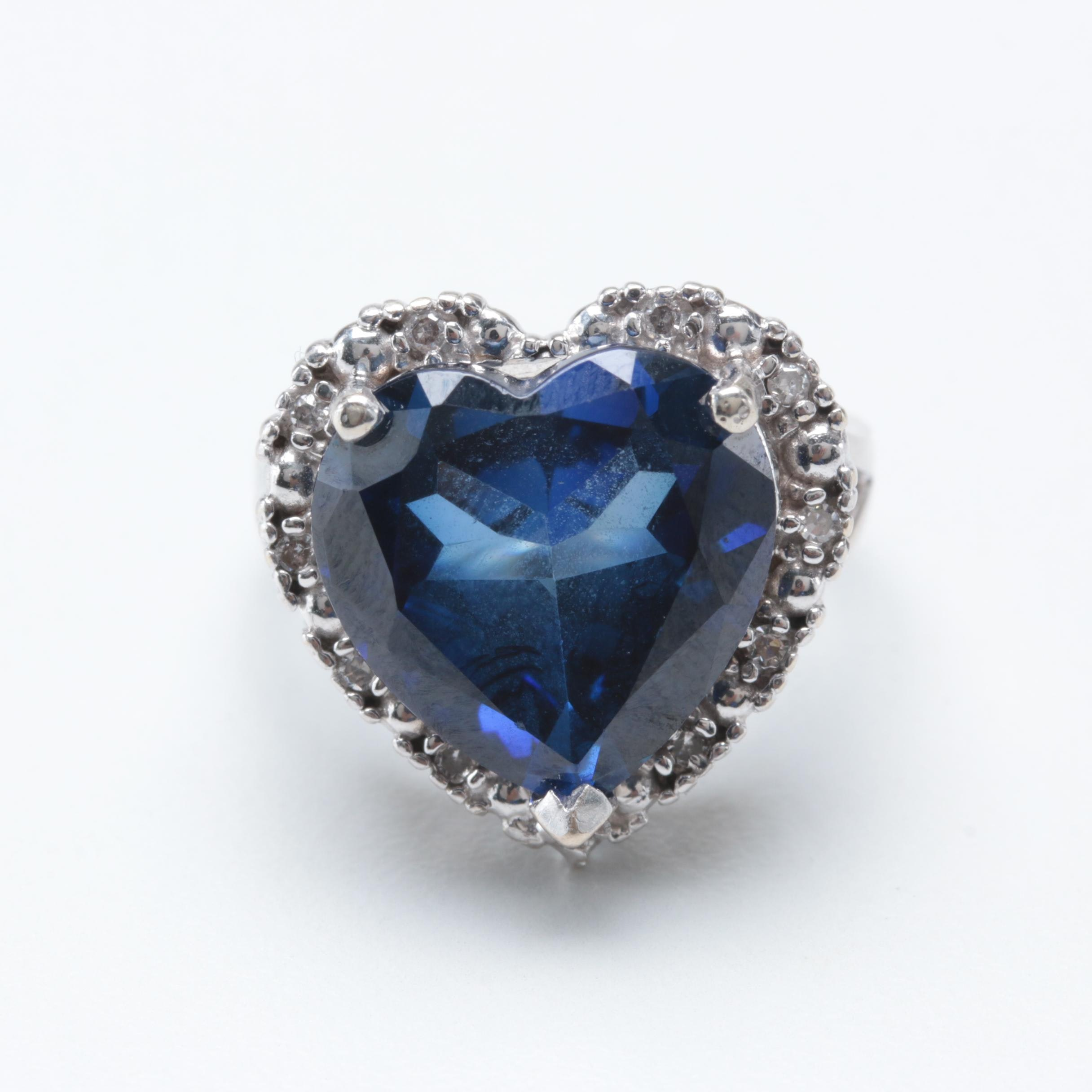 14K White Gold Synthetic Sapphire and Diamond Heart Ring