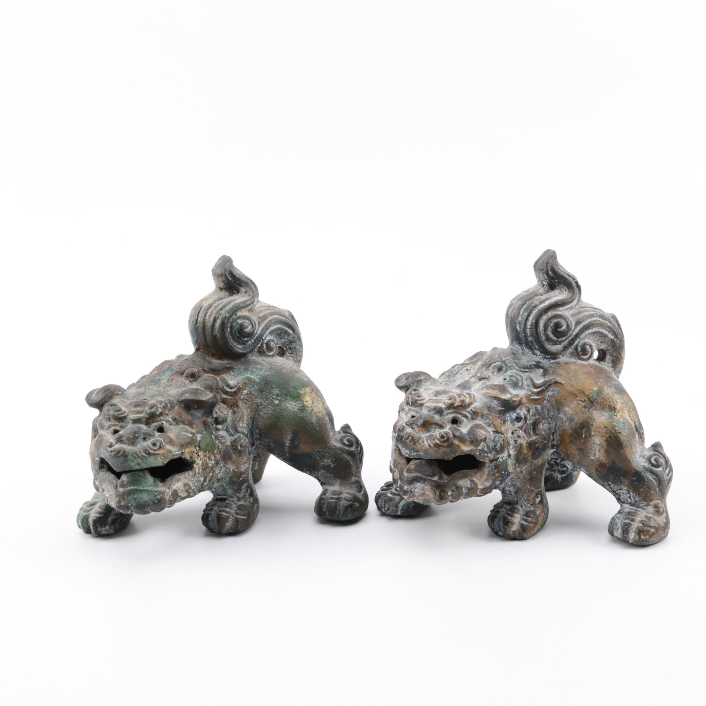 Japanese Komainu Metal Figures