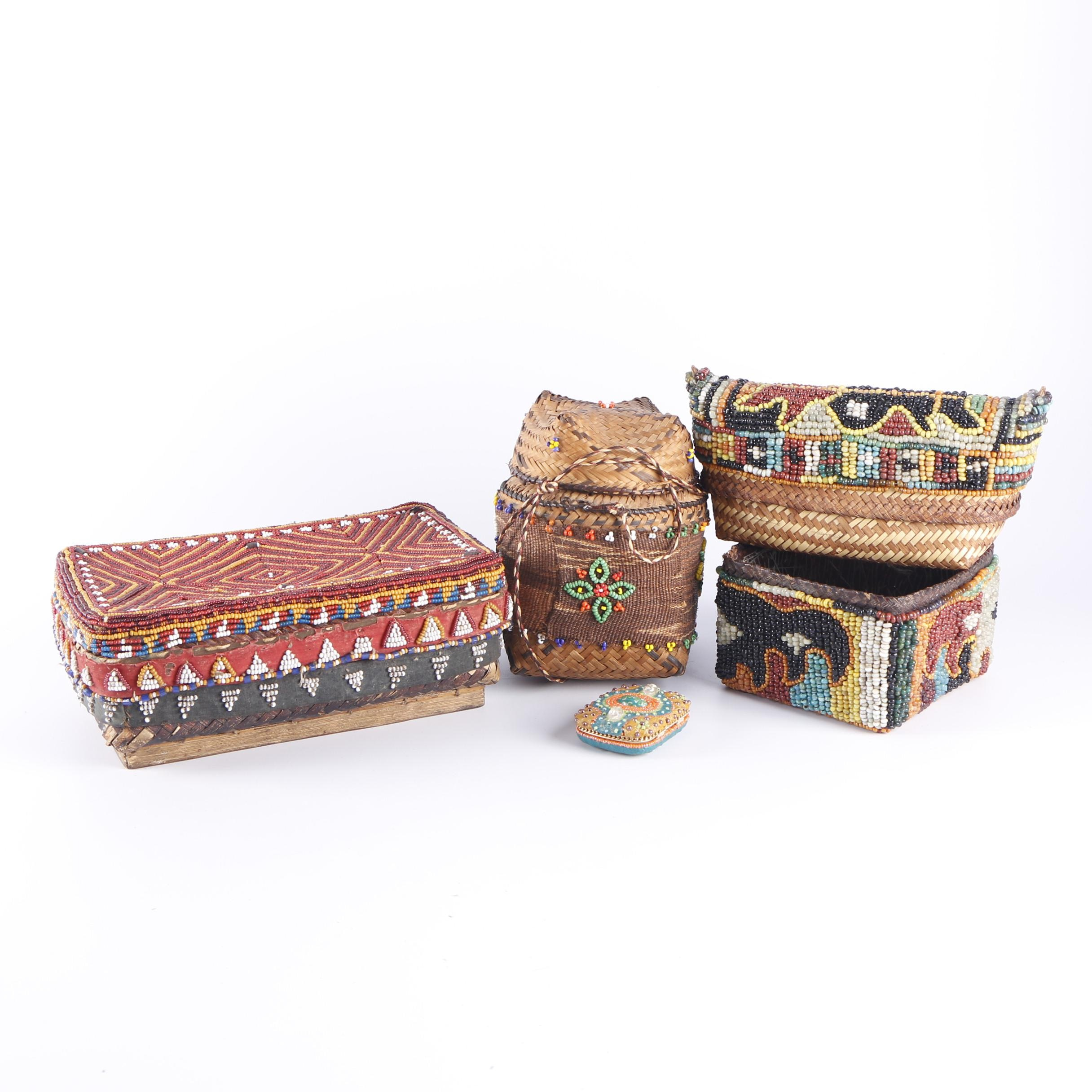 Vintage African Inspired Handwoven Beaded Baskets
