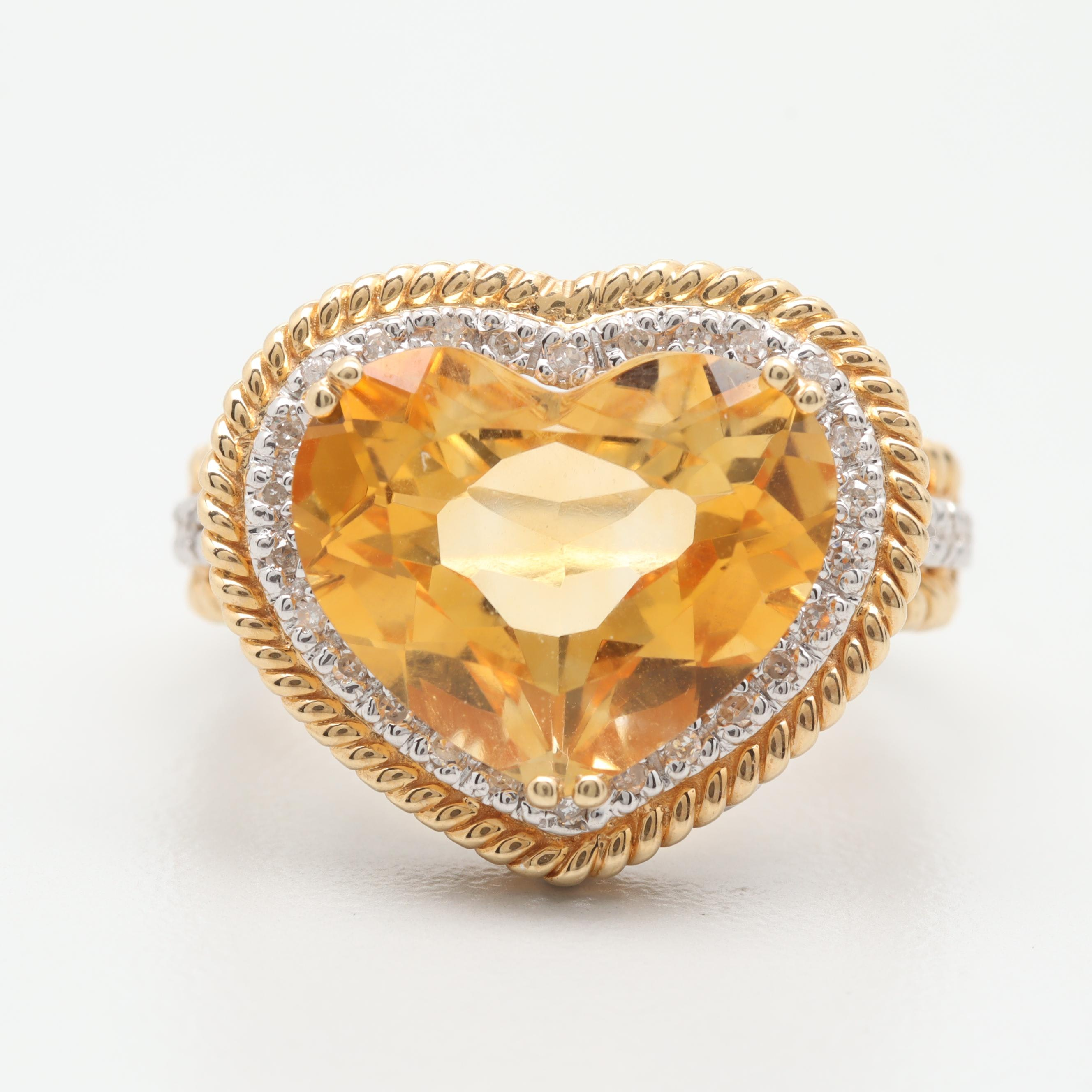 14K Yellow and White Gold Citrine and Diamond Heart Ring