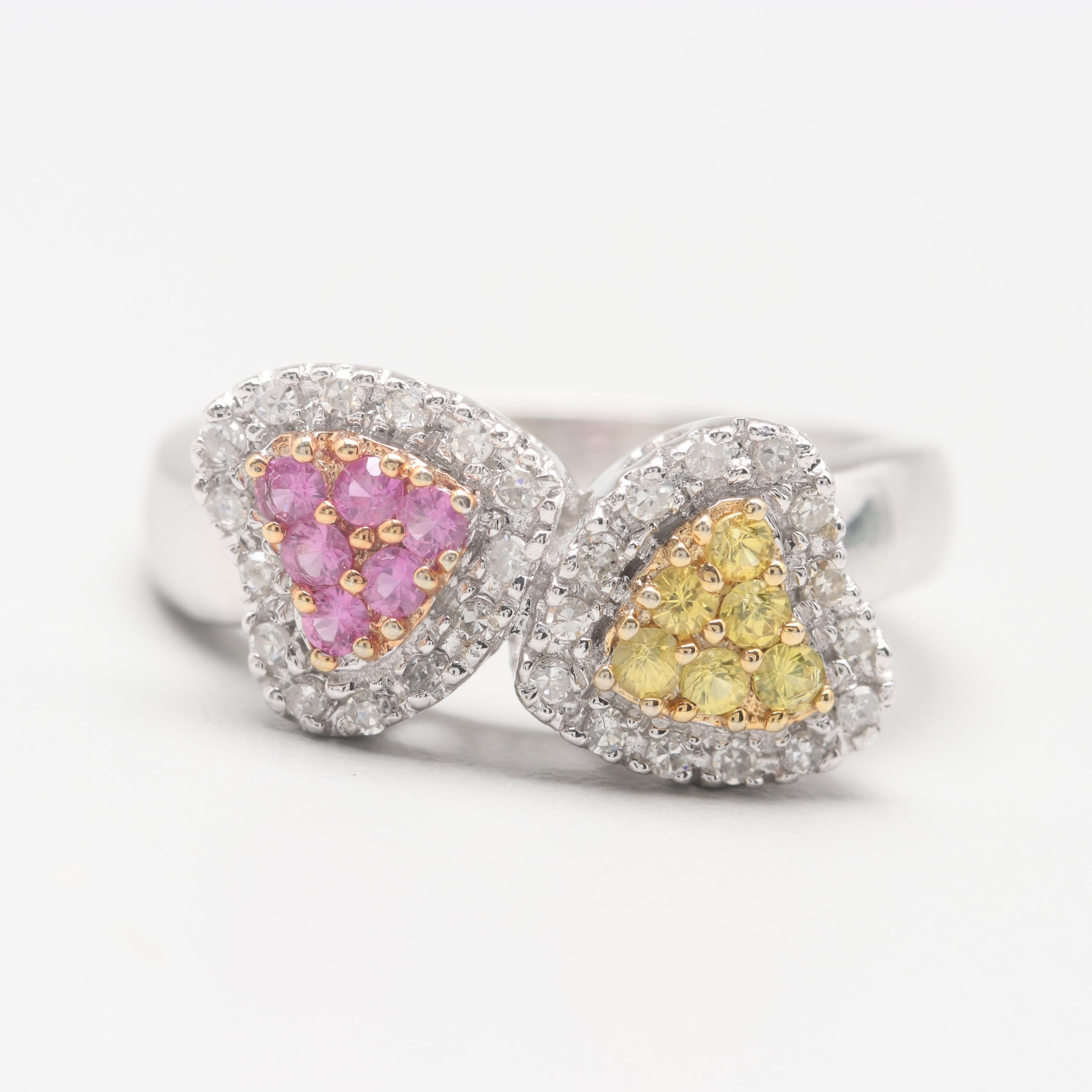 14K White Gold Yellow Sapphire, Pink Sapphire, and Diamond Ring
