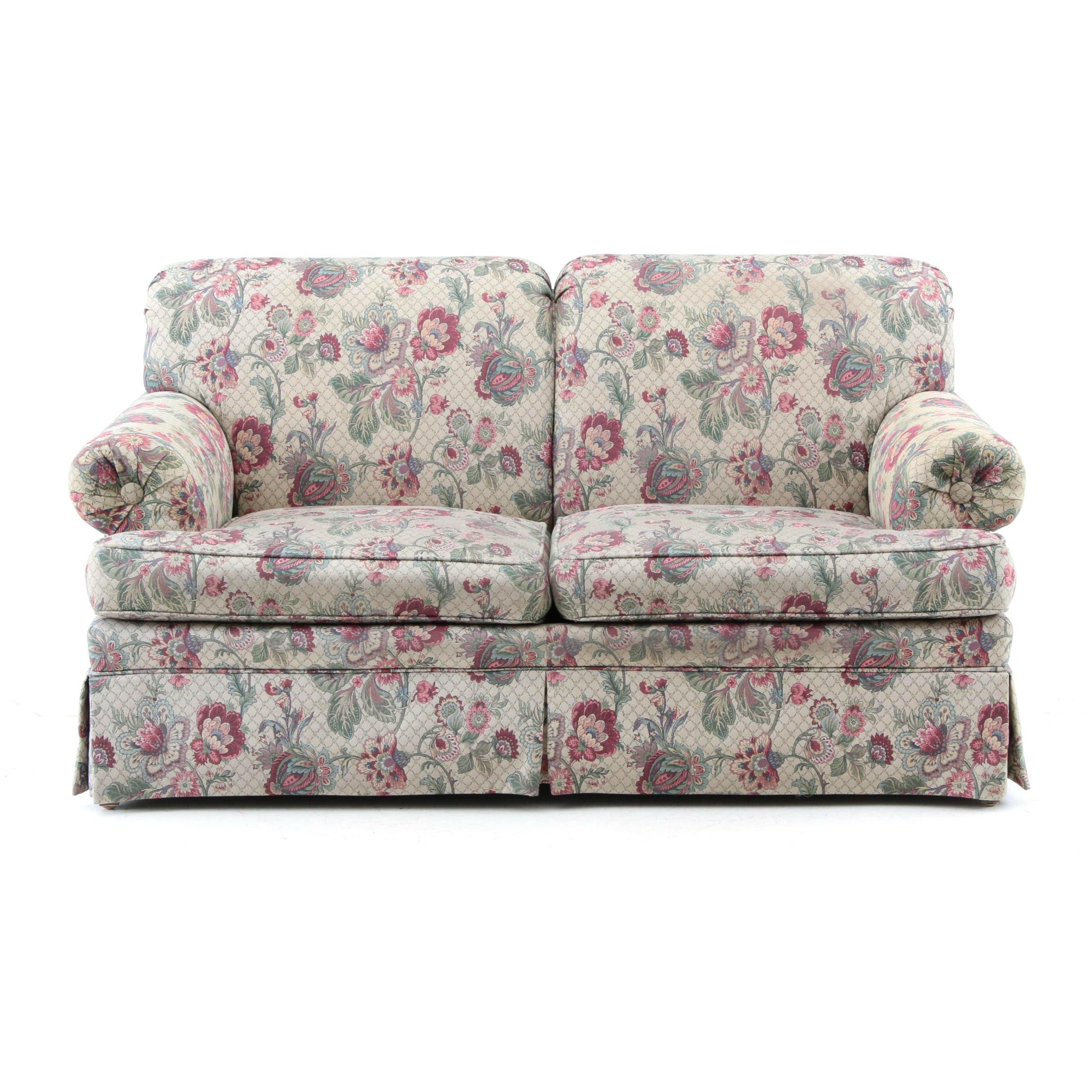 Ethan Allen Floral Upholstered Love Seat ...