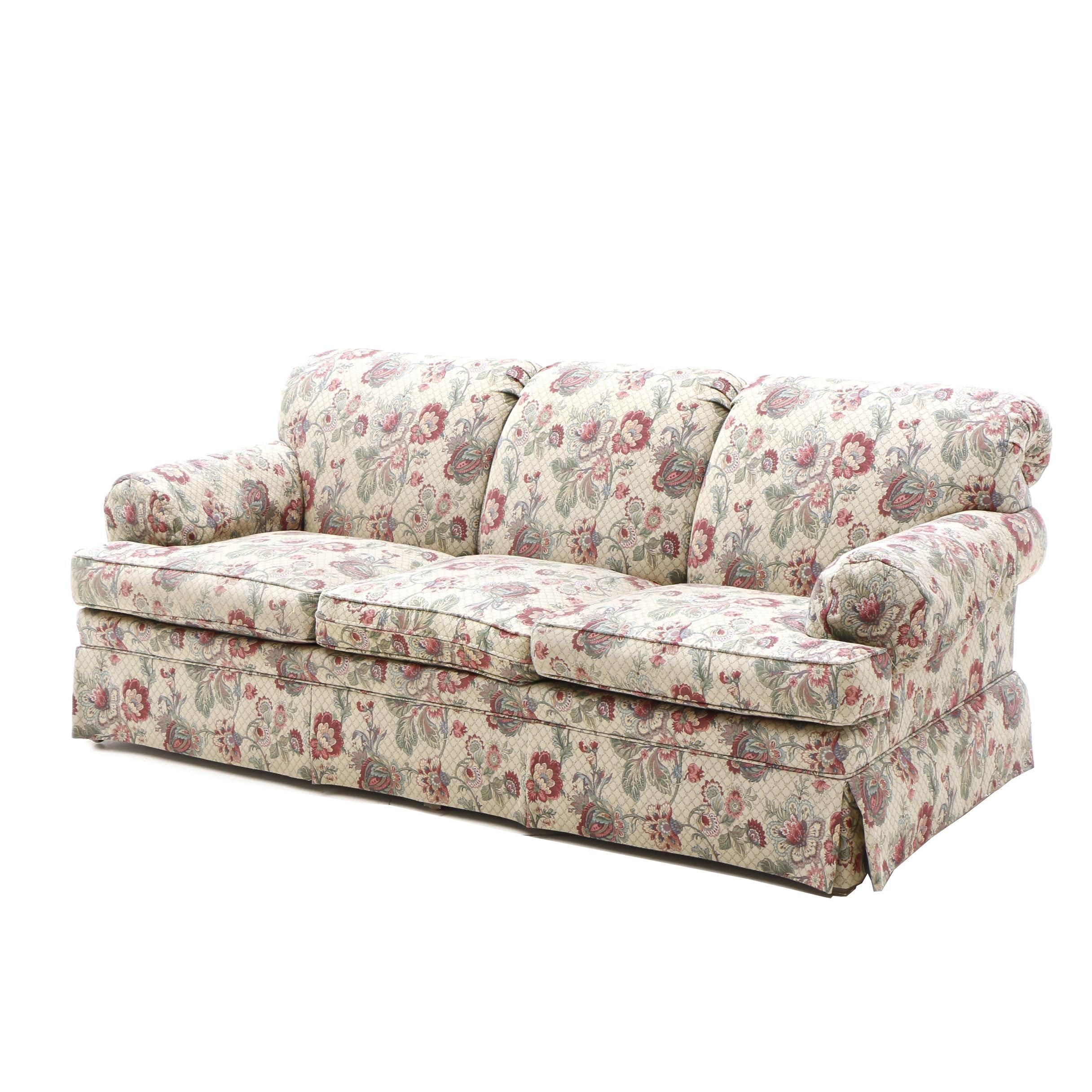 Ethan Allen Floral Upholstered Sofa ...