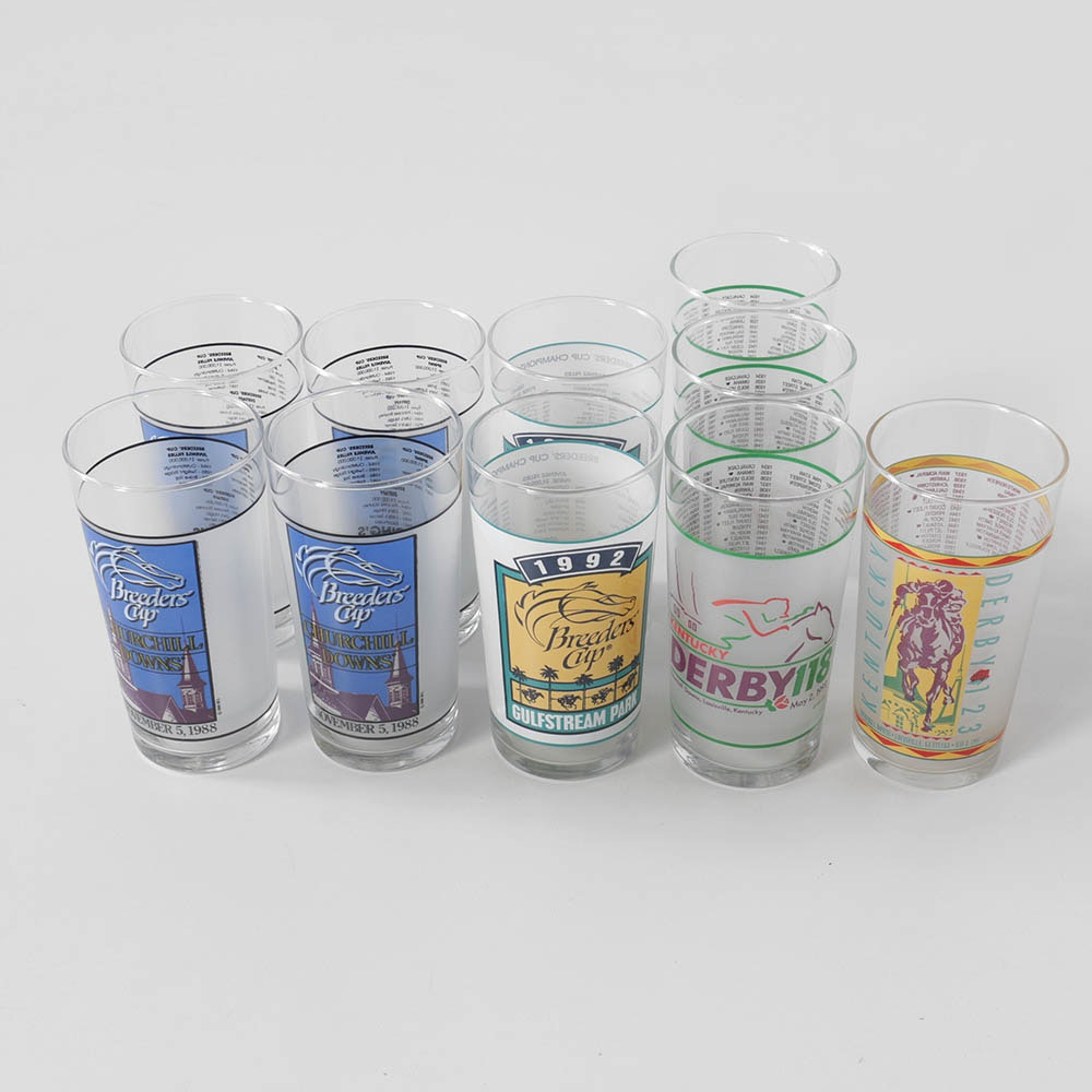 1980s and 1990s Kentucky Derby and Breeders Cup Souvenir Glasses