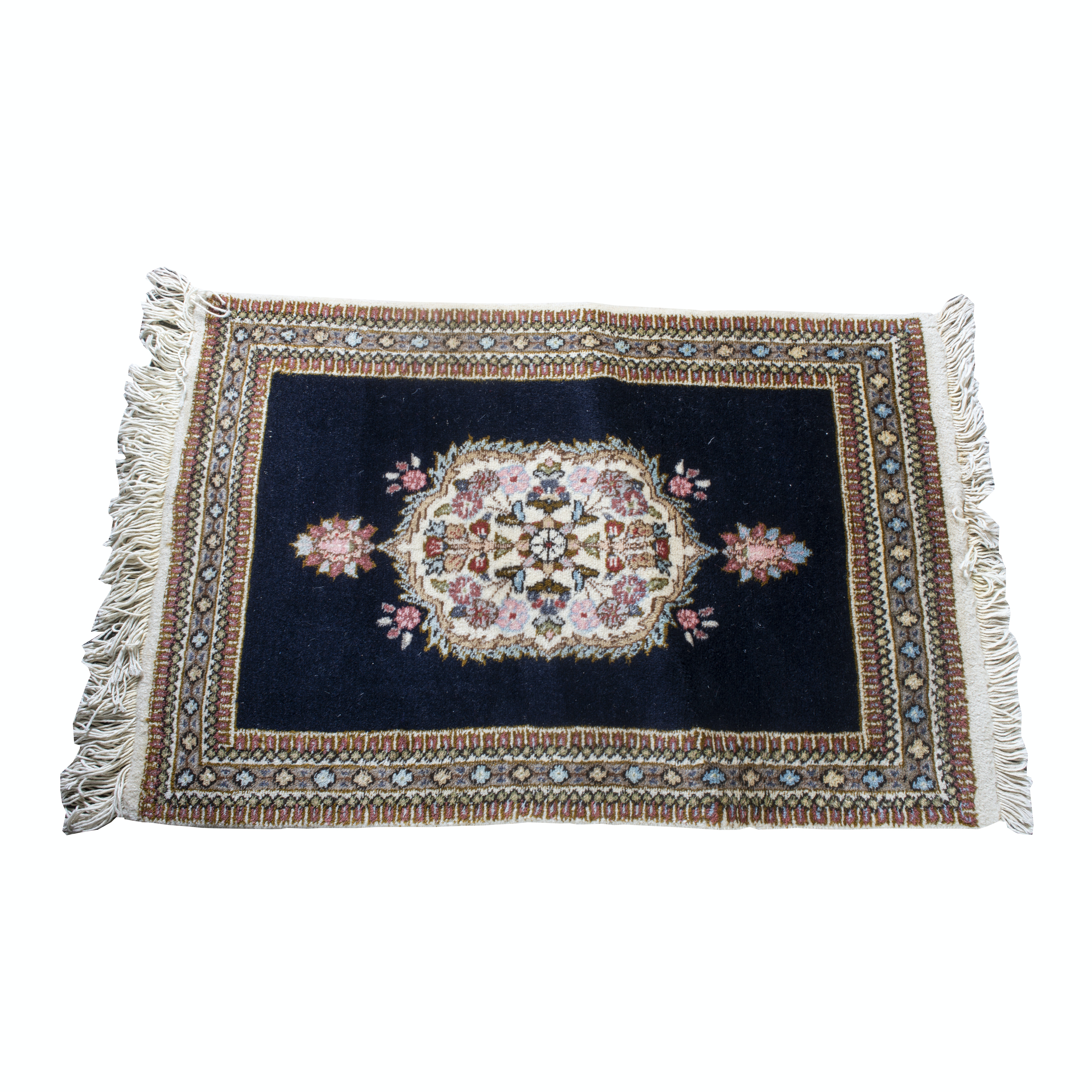 Hand-Knotted Persian Qom Wool Accent Rug