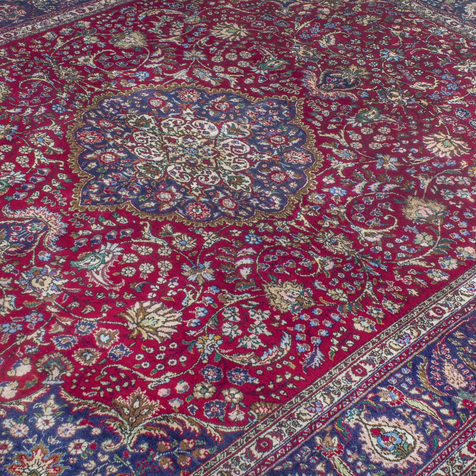 Vintage Hand-Knotted Persian Tabriz Wool Room Sized Rug