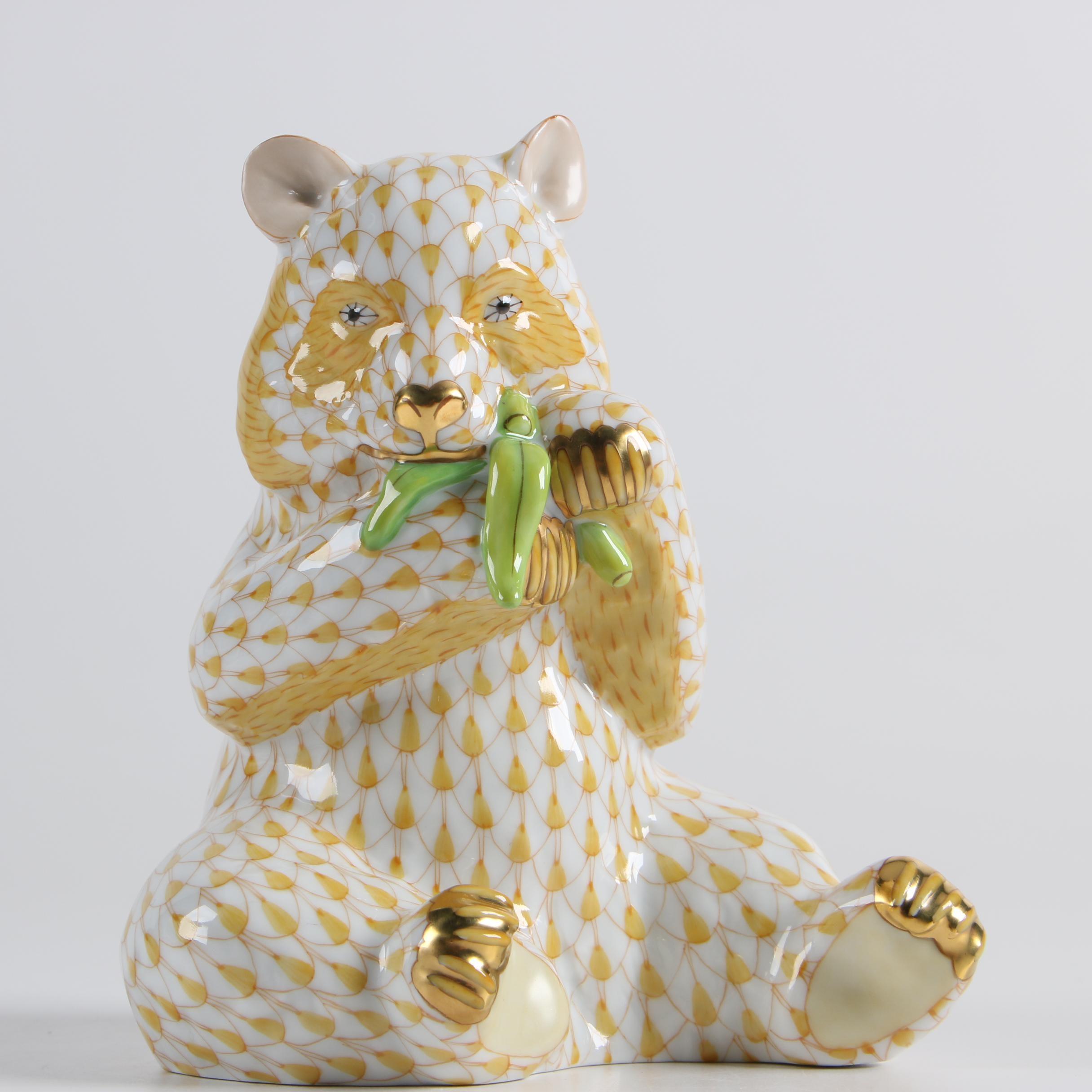 "Herend Hungary ""Panda Bear"" Hand-Painted Porcelain Figurine"