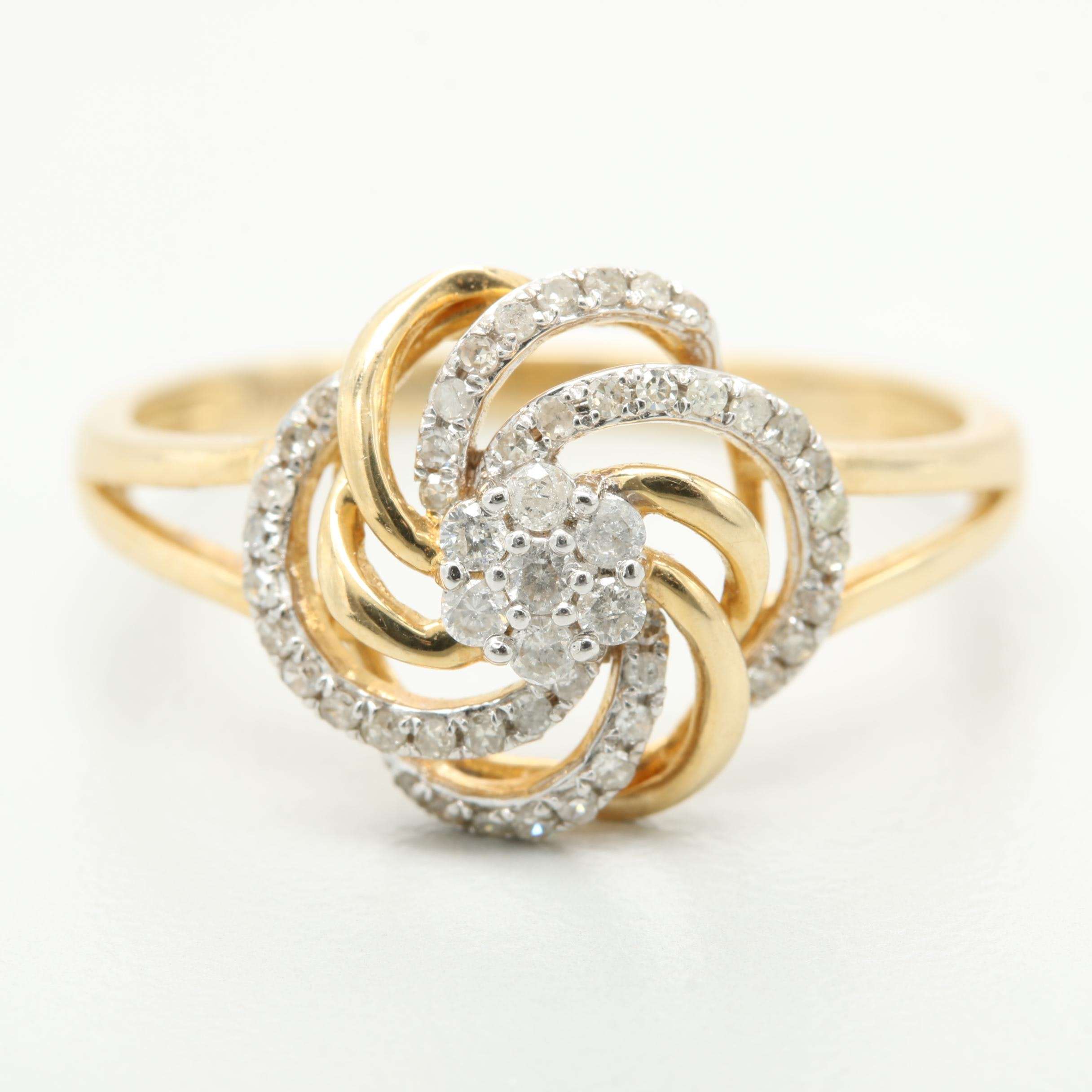 14K Yellow Gold Diamond Pinwheel Ring