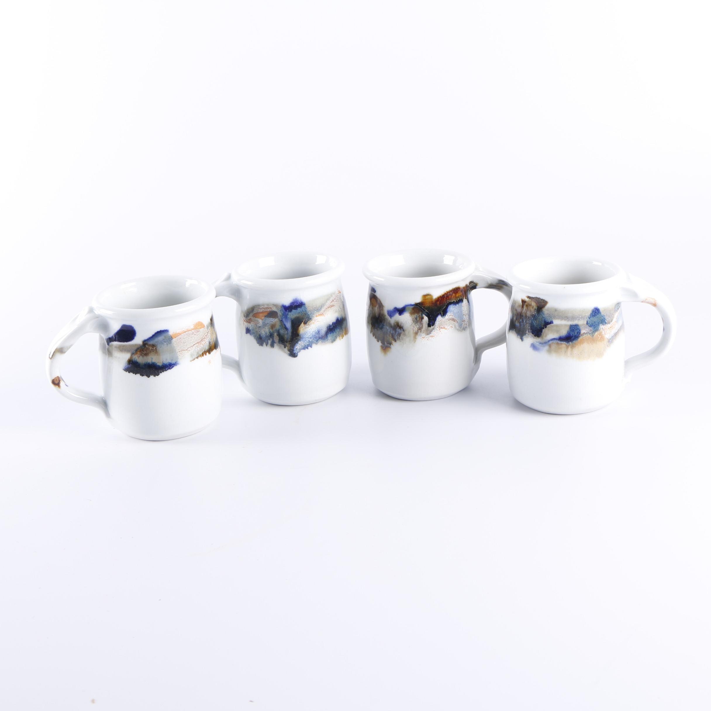 Studio Signed Don Brimberry Drip Glazed Pottery Mugs