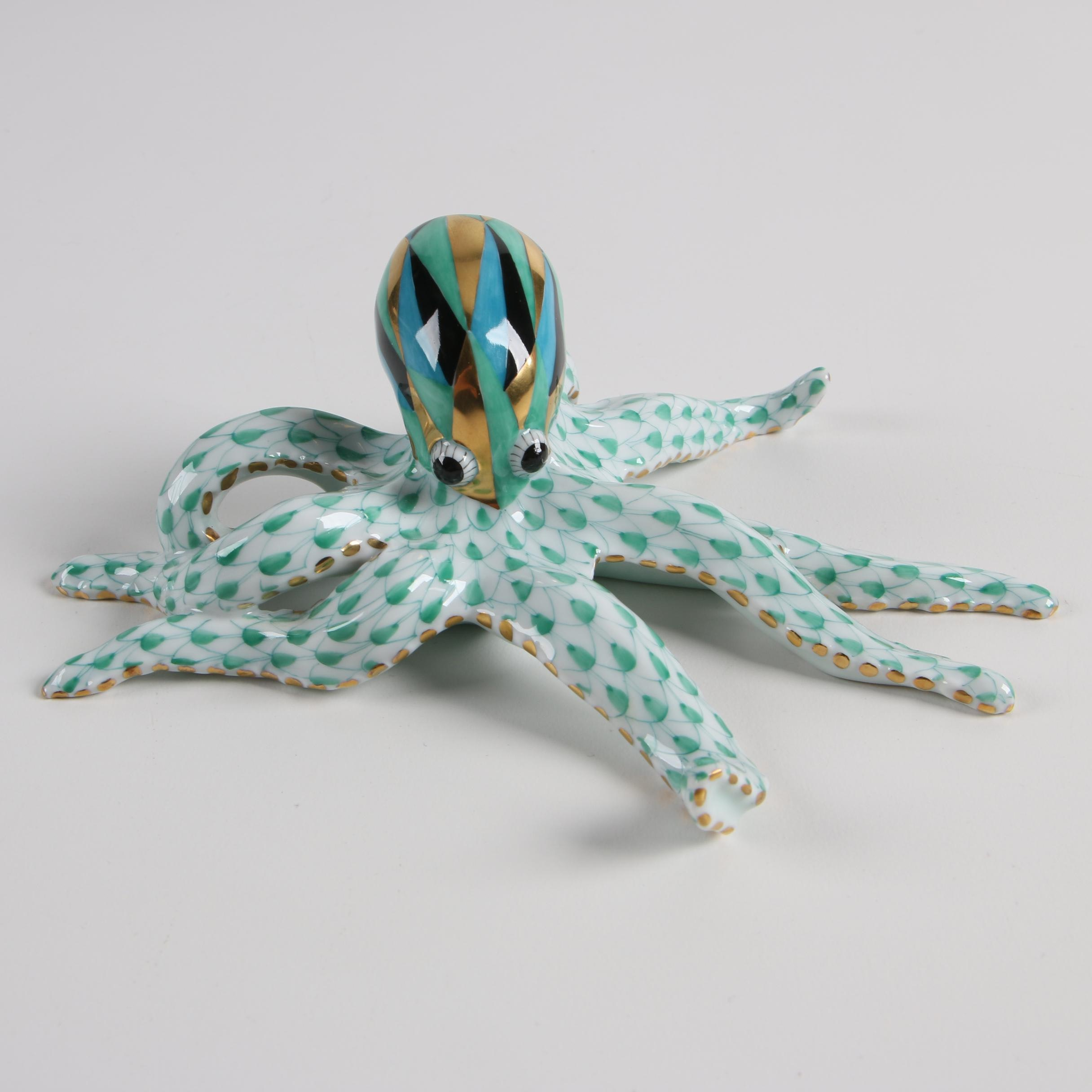 """Herend Hungary """"Octopus"""" Hand-Painted Porcelain Figurine"""