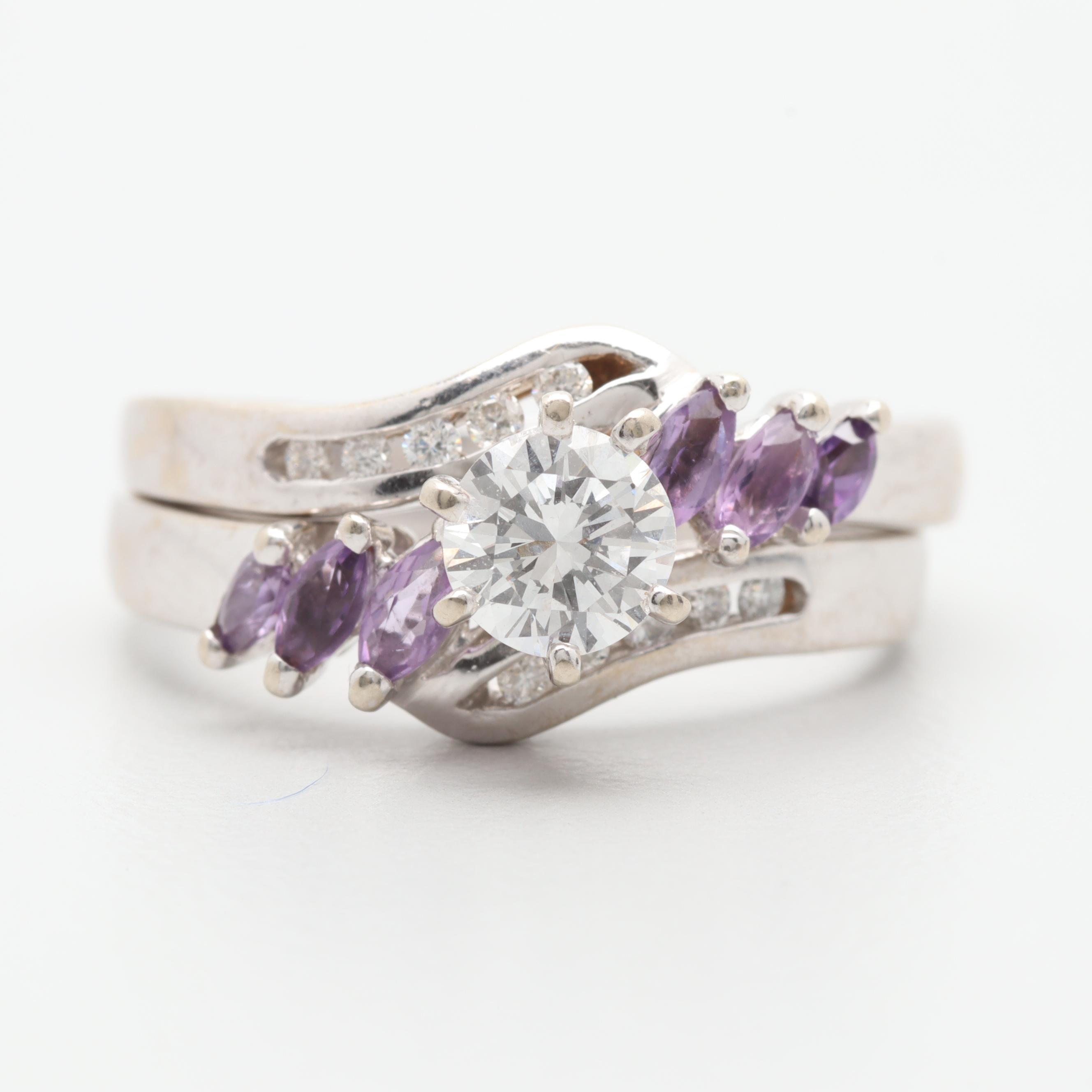 14K White Gold Diamond and Amethyst Ring Set