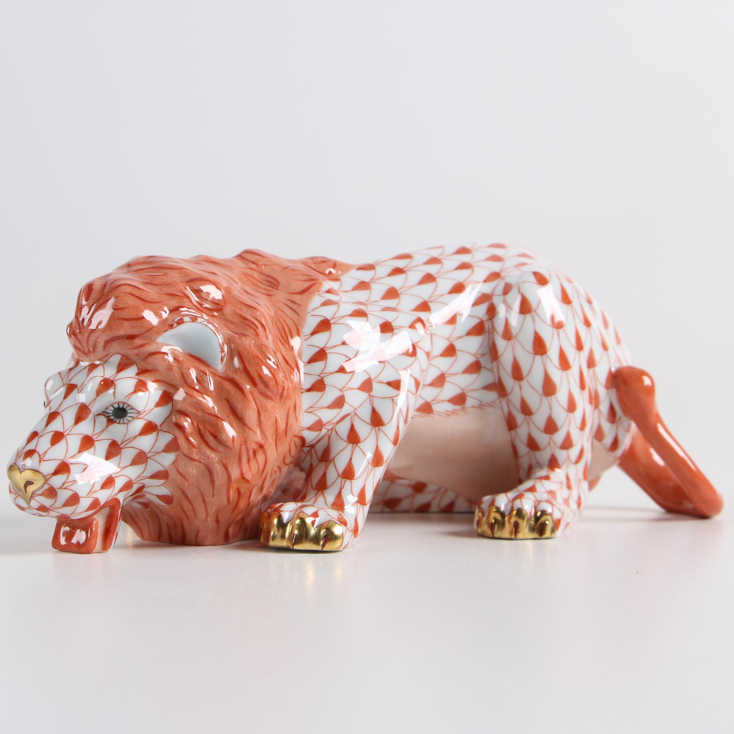 """Herend Hungary """"Lion"""" Hand-Painted Porcelain Figurine"""