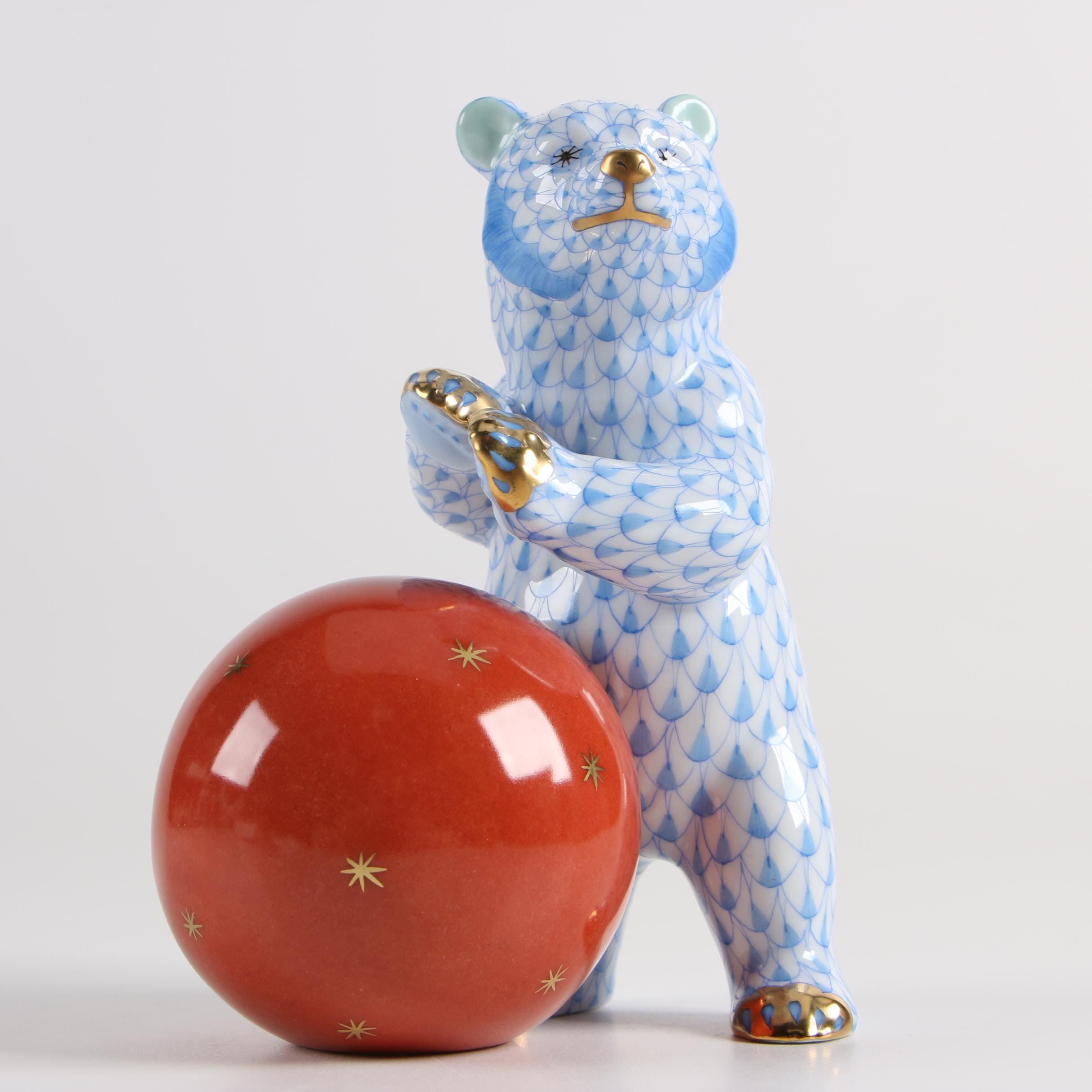 """Herend Hungary """"Bear with Ball"""" Hand-Painted Porcelain Figurine"""