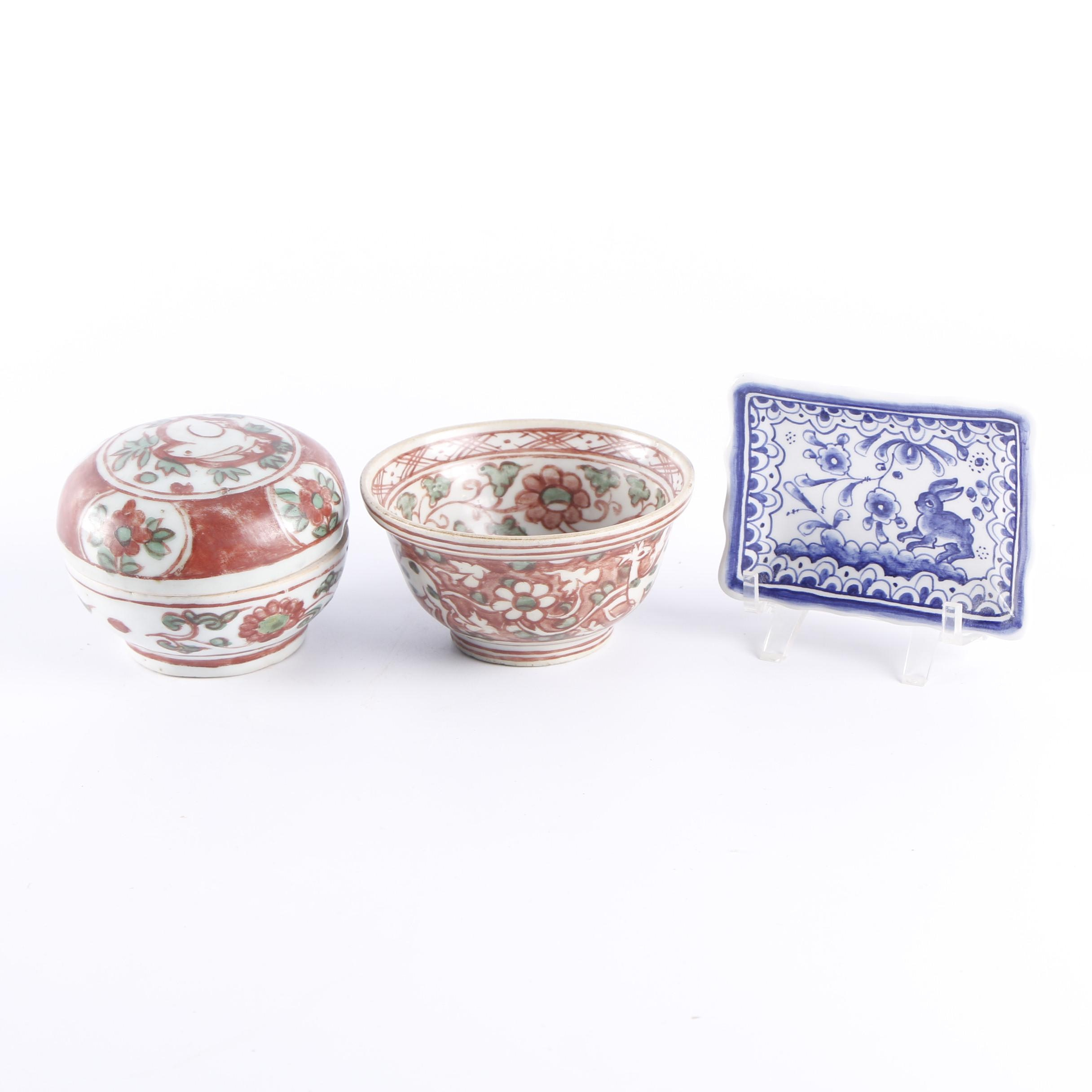 Hand-Painted Chinese Bowls and Portuguese Trinket Tray
